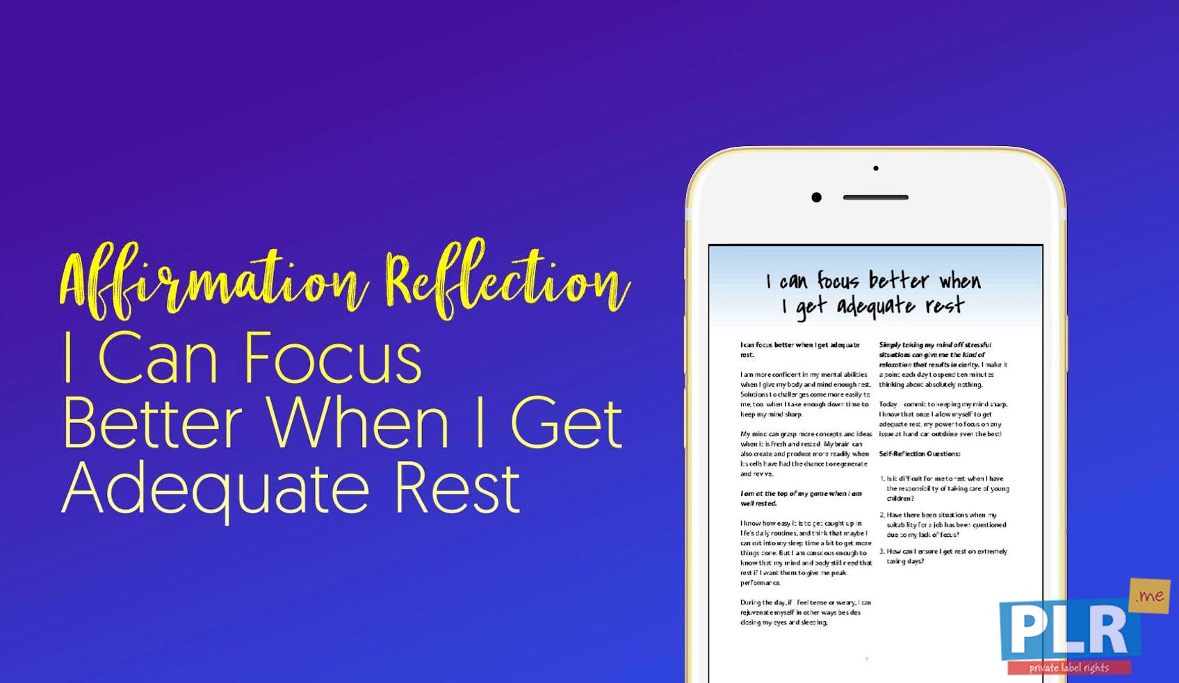 I Can Focus Better When I Get Adequate Rest