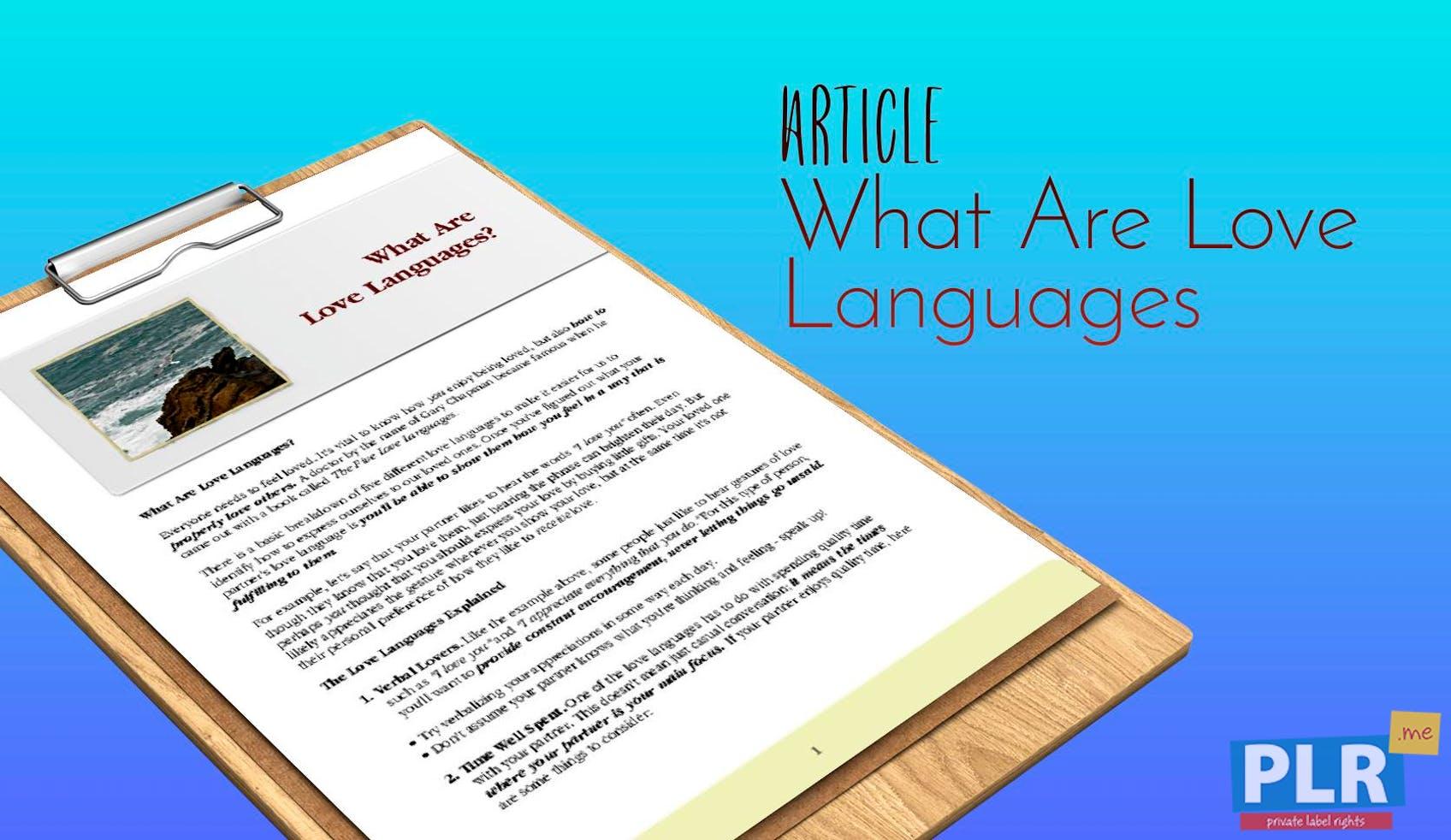 Plr Articles Blog Posts What Are Love Languages Plr Me