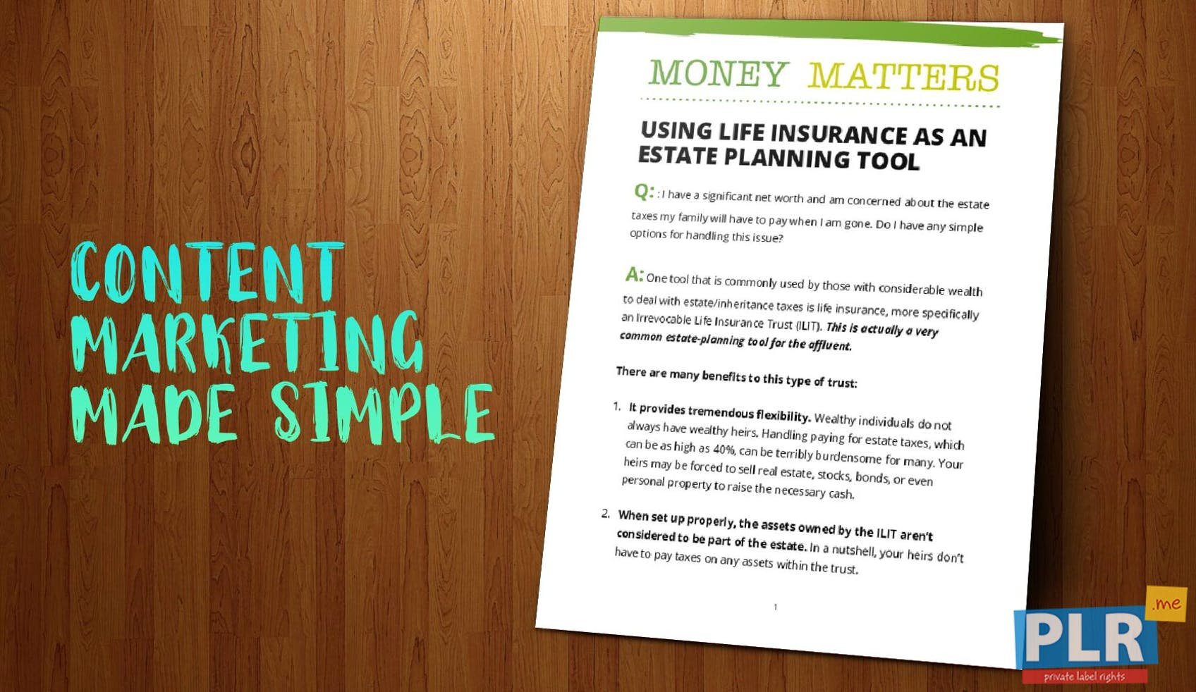 Money Matters Using Life Insurance As An Estate Planning Tool