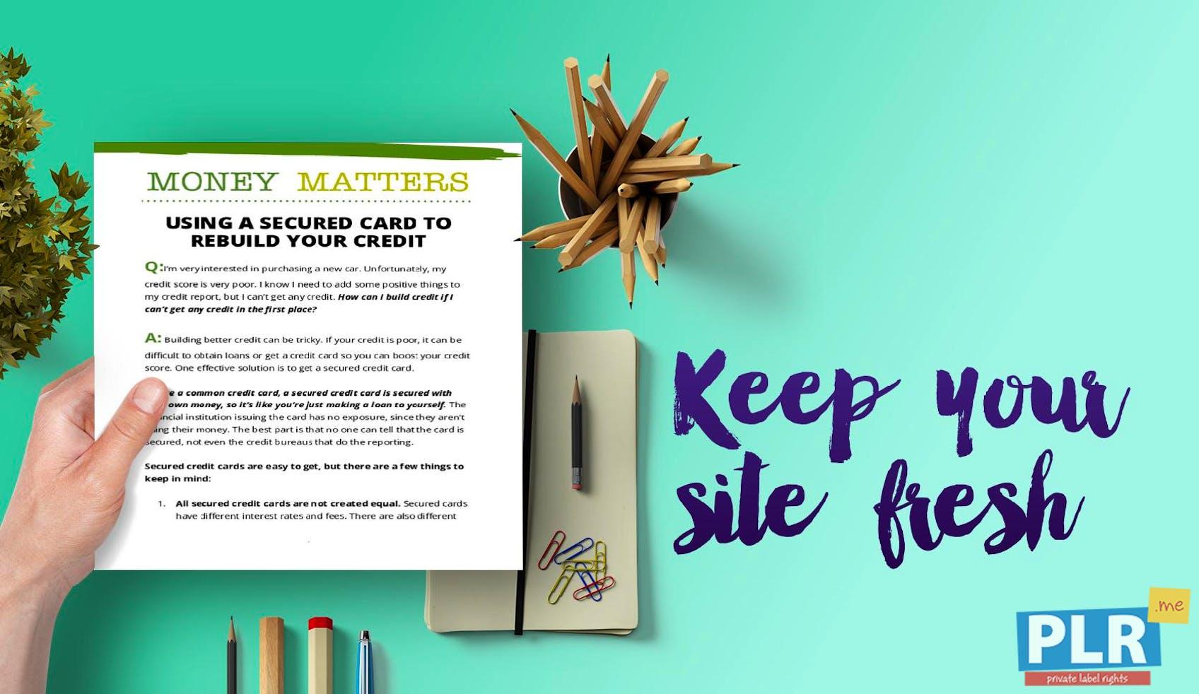 Money Matters Secured Card Rebuilding Credit