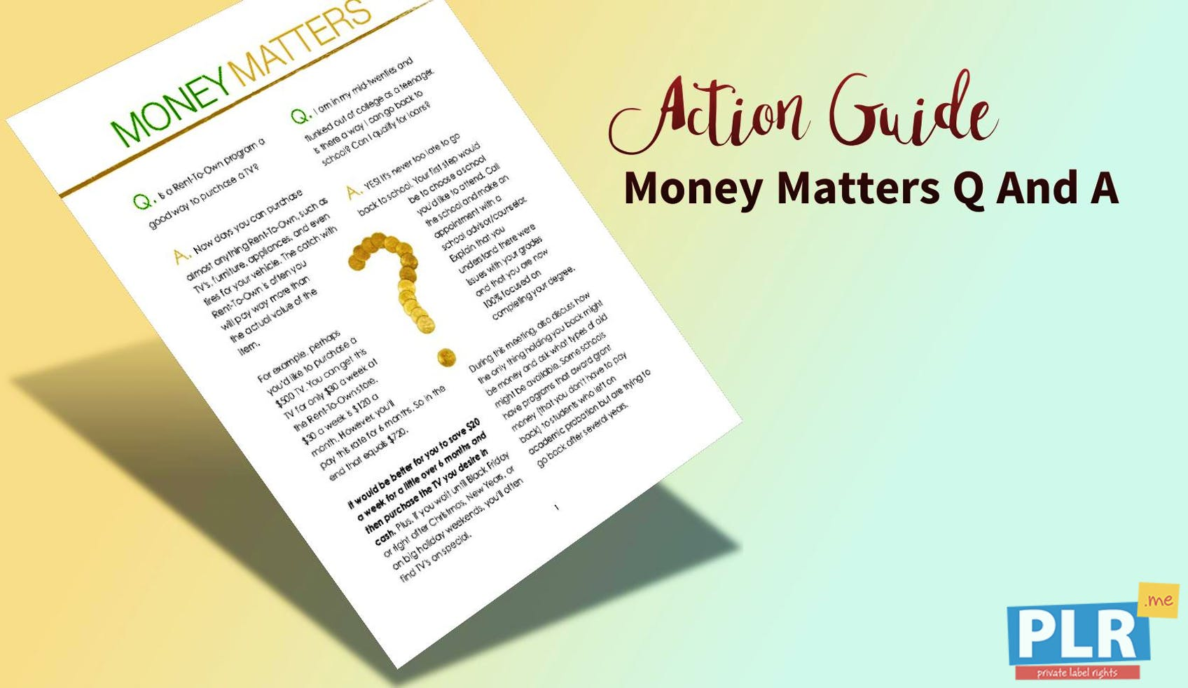 Money Matters Q And A