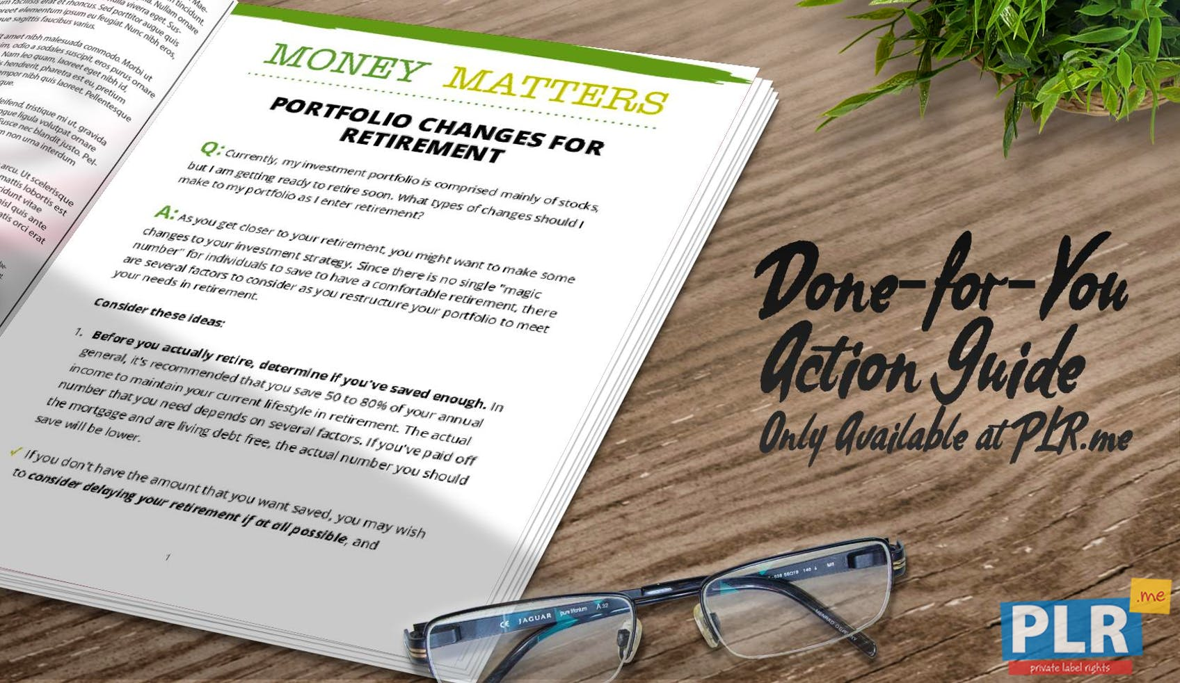 Money Matters Portfolio Changes For Retirement