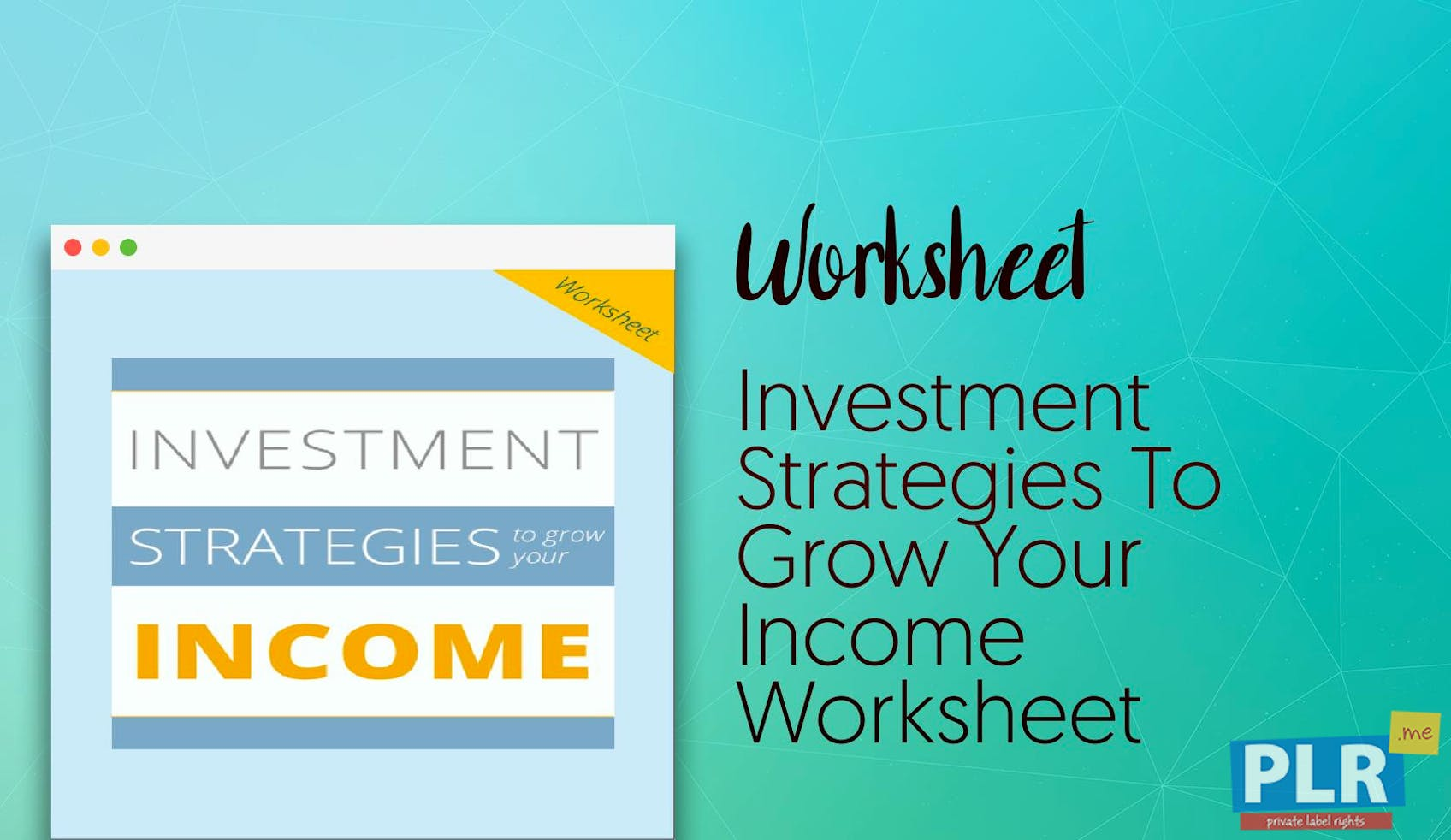 PLR Worksheets - Investment Strategies To Grow Your Income Worksheet ...