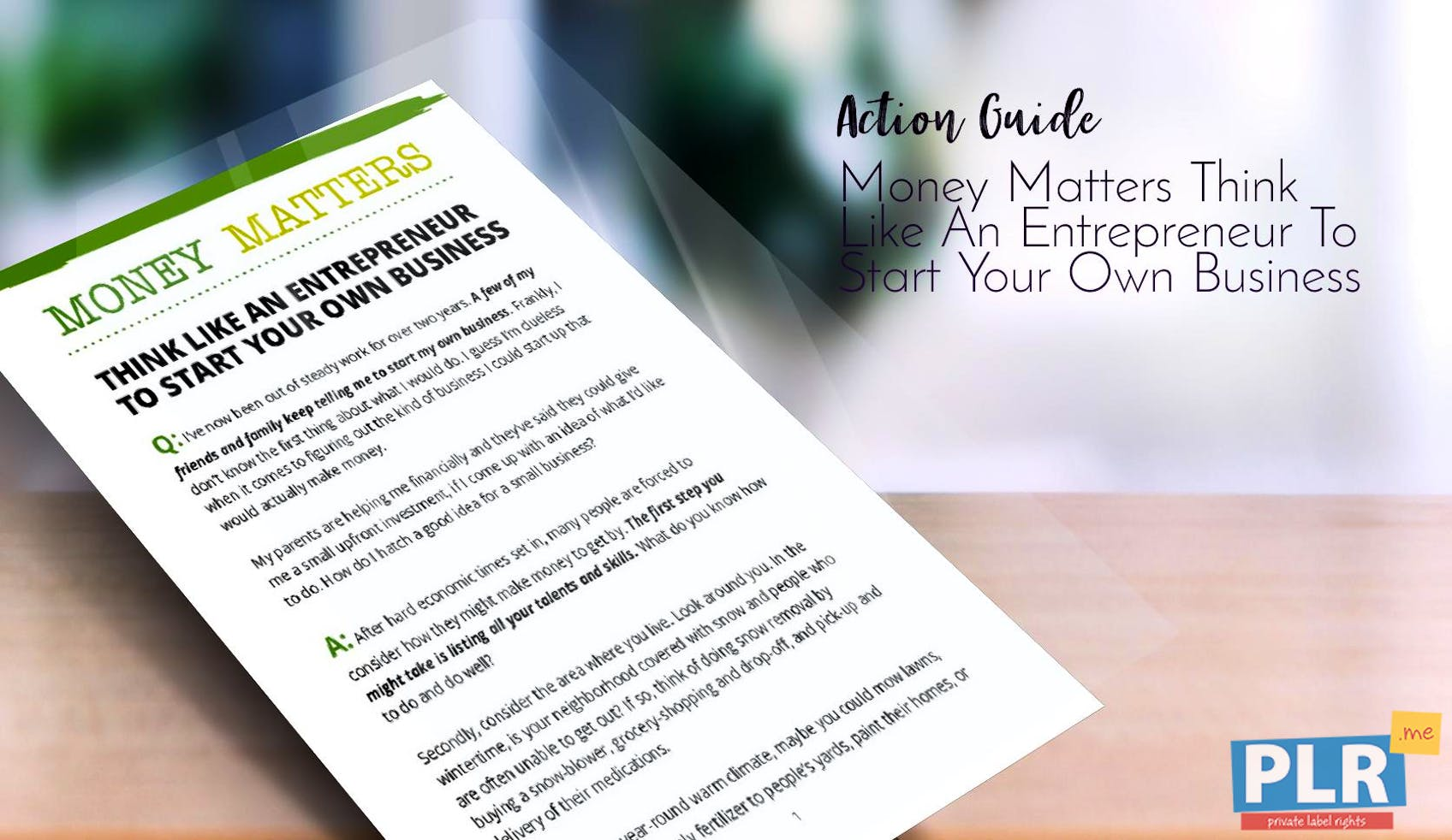 Money Matters Think Like An Entrepreneur To Start Your Own Business