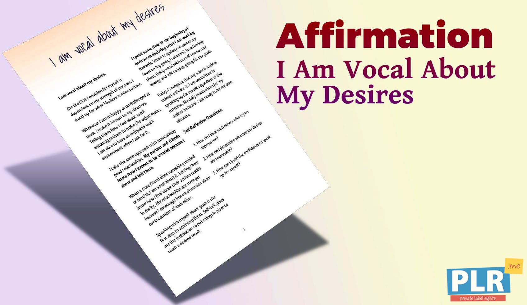 I Am Vocal About My Desires