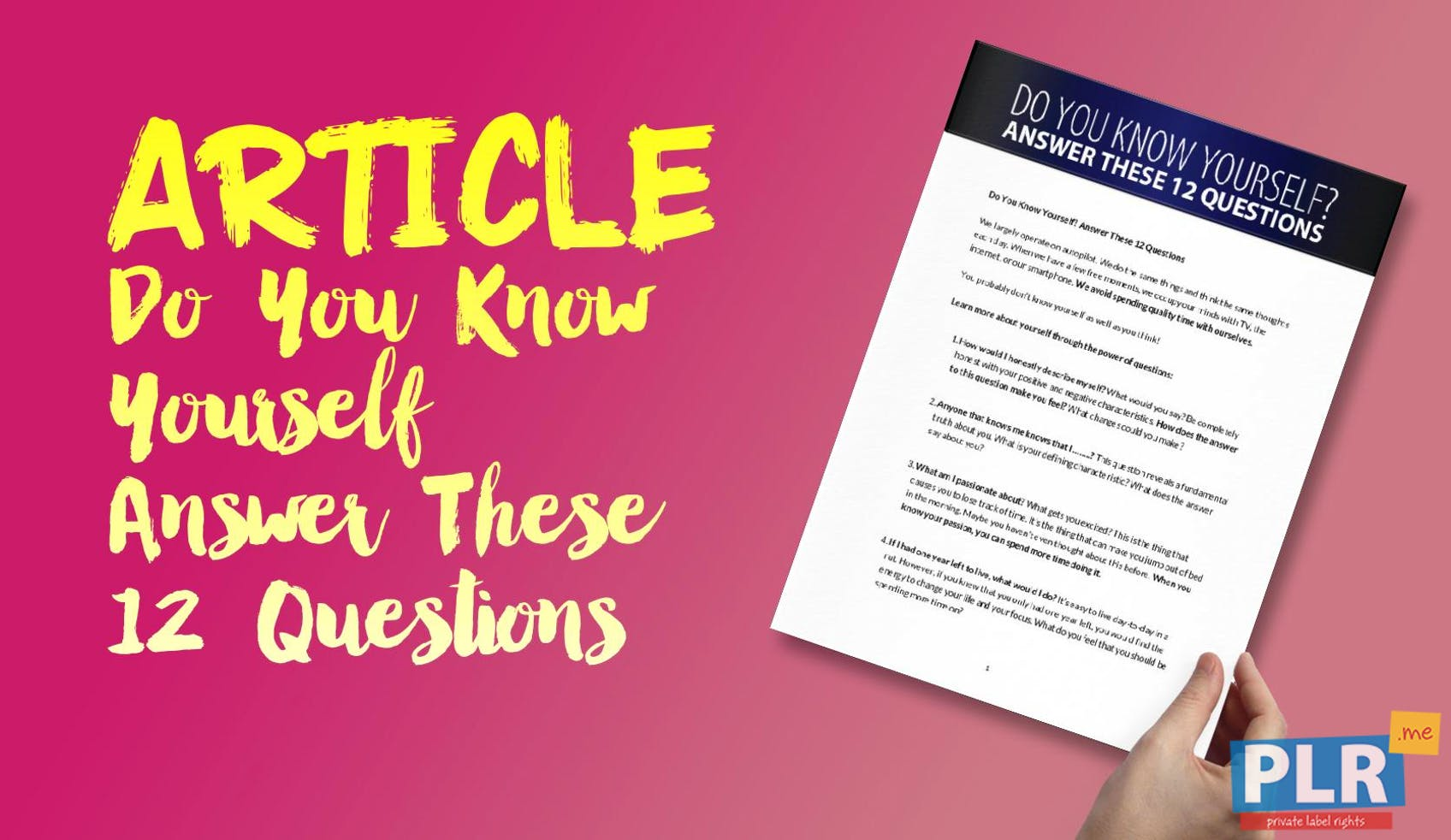 039cea062 PLR Articles   Blog Posts - Do You Know Yourself Answer These 12 Questions  - PLR.me