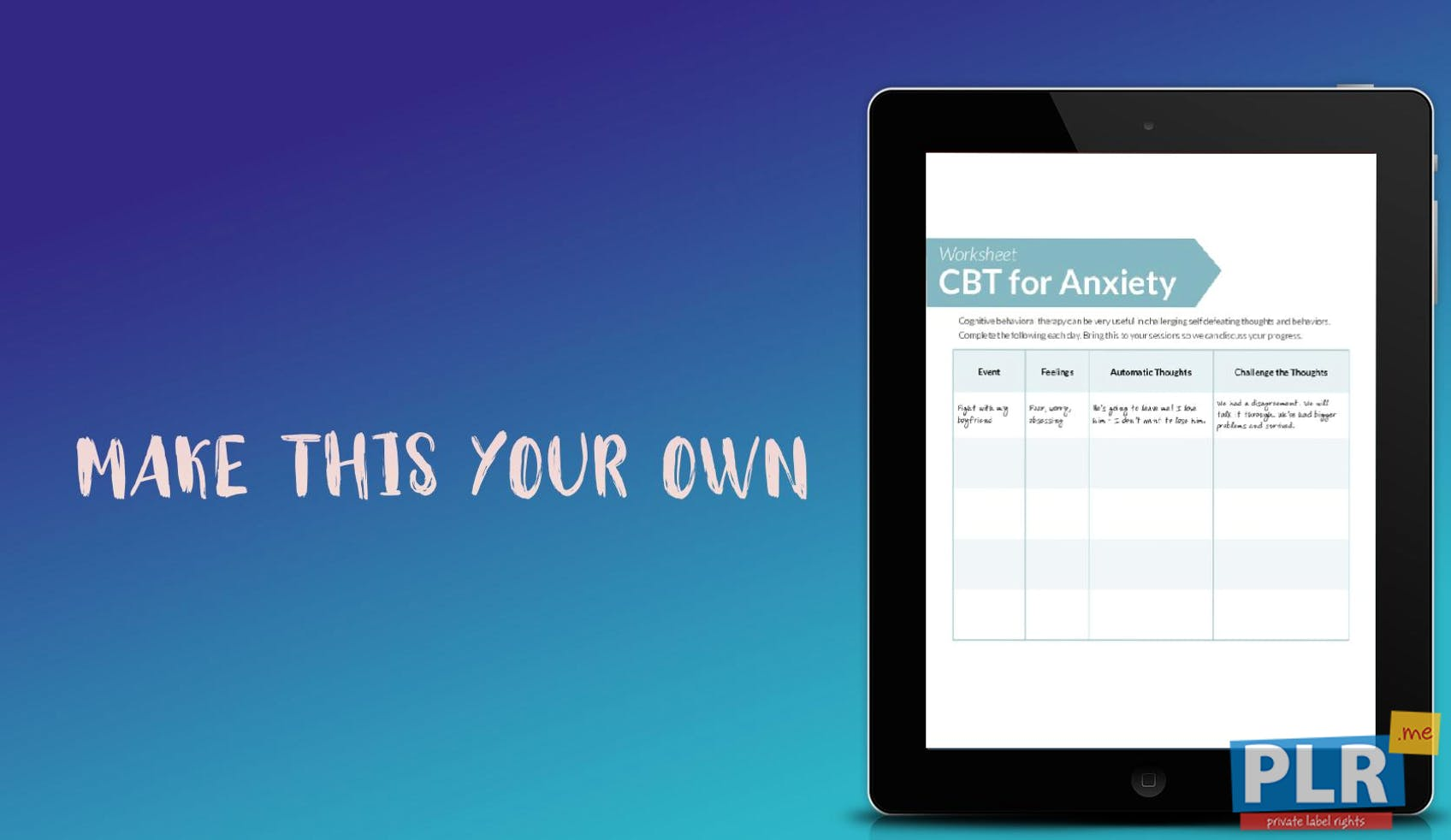 PLR Worksheets - Cbt For Anxiety Worksheet - PLR.me