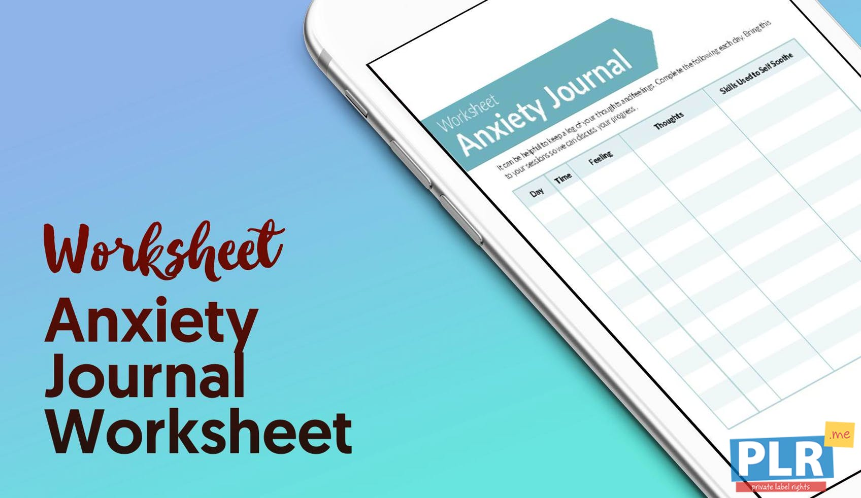 PLR Worksheets - Anxiety Journal Worksheet - PLR.me