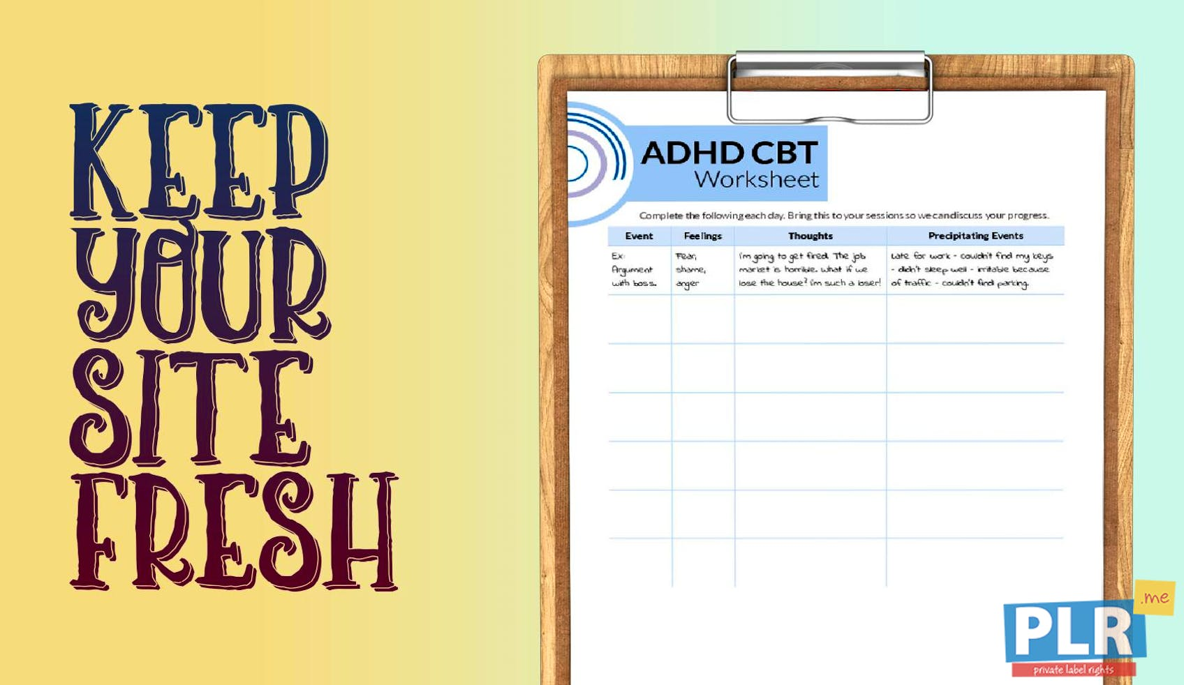 Plr Worksheets Adhd Cbt Worksheet Plr