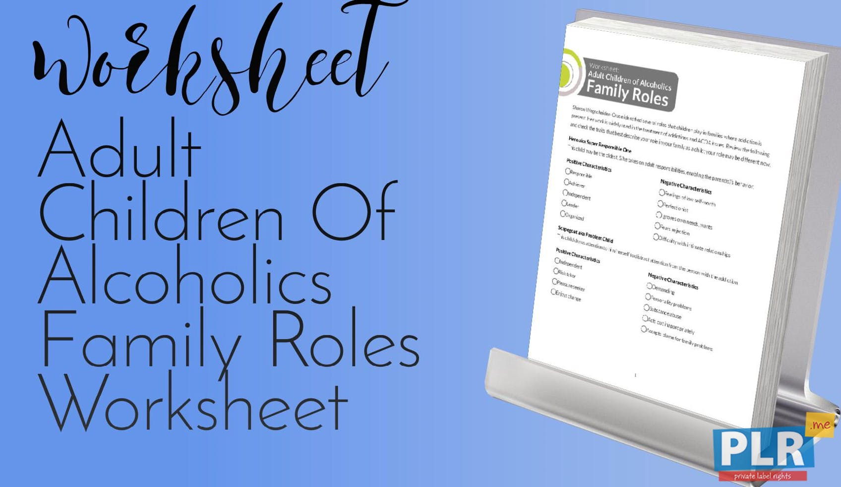 Plr Worksheets Adult Children Of Alcoholics Family Roles