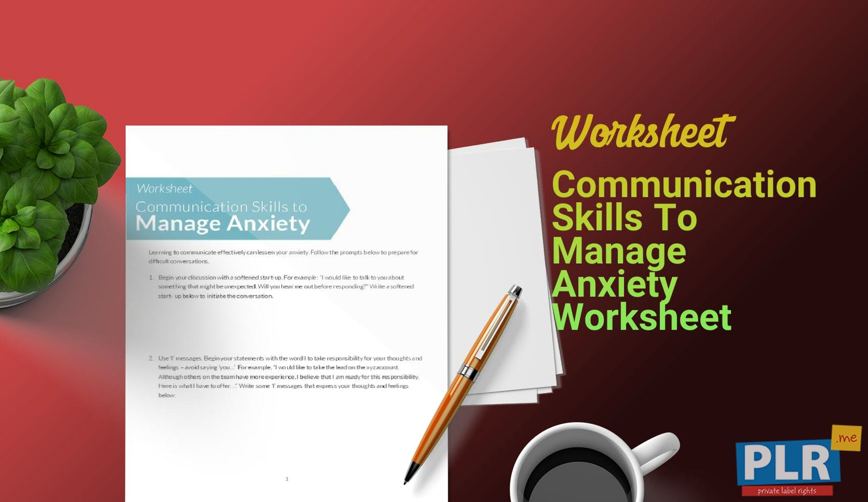 Plr Worksheets Communication Skills To Manage Anxiety Worksheet Me
