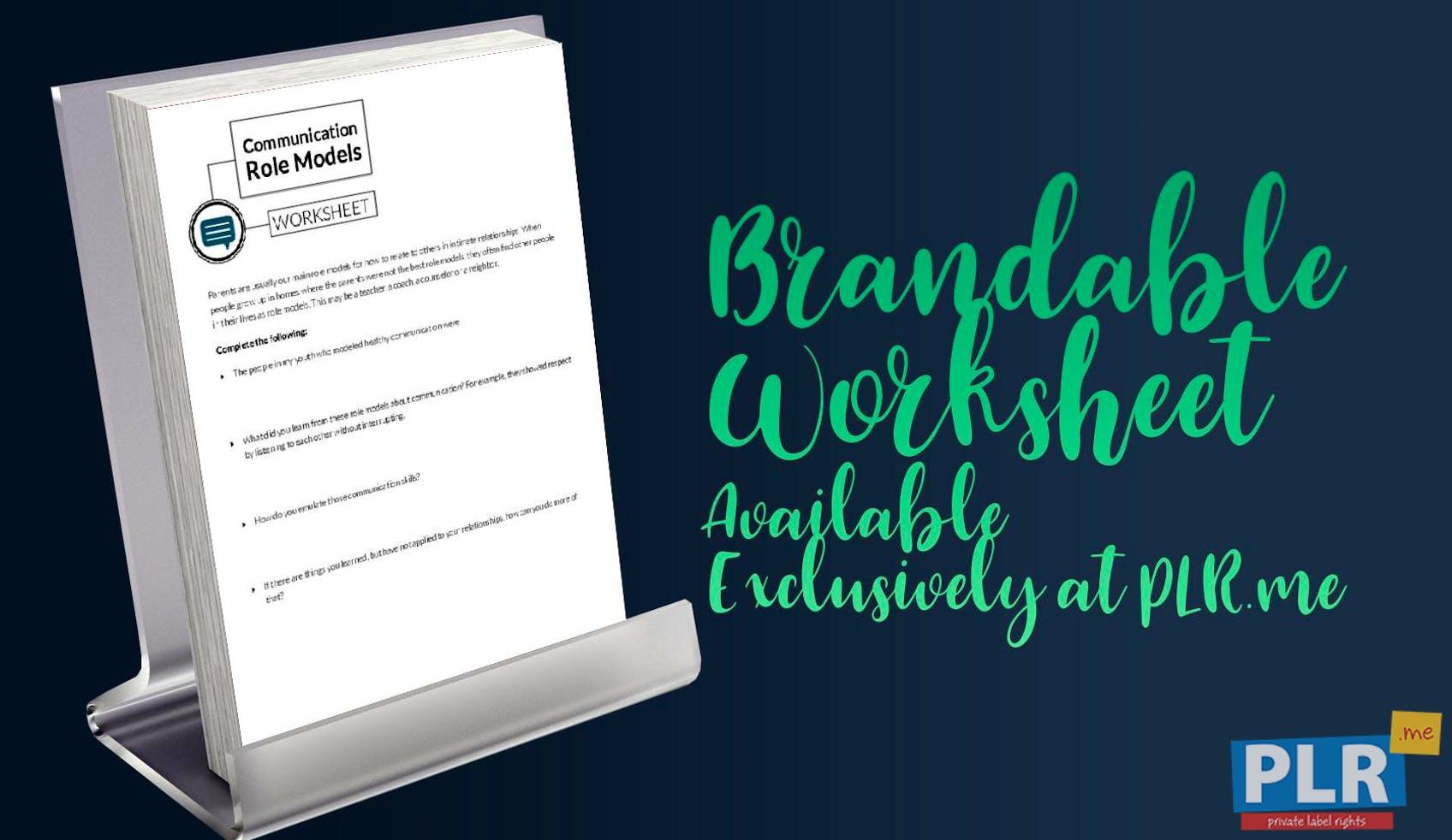 PLR Worksheets - Communication Role Models Worksheet - PLR.me