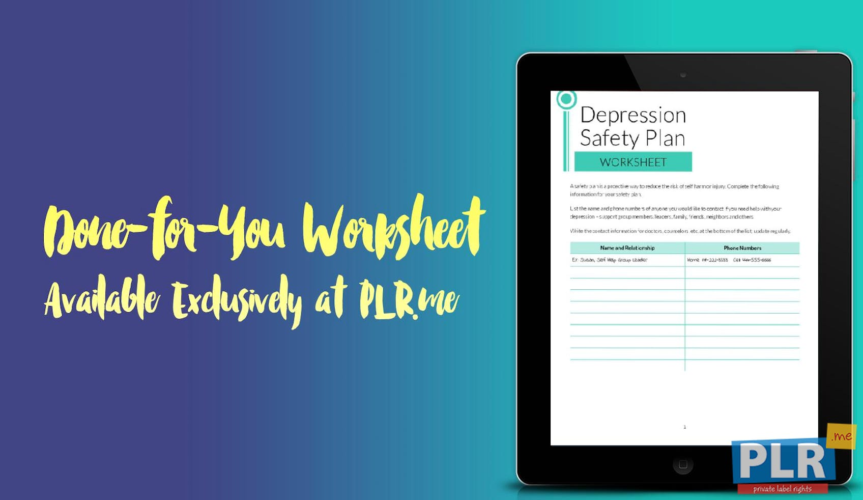 PLR Worksheets - Depression Safety Plan Worksheet - PLR.me