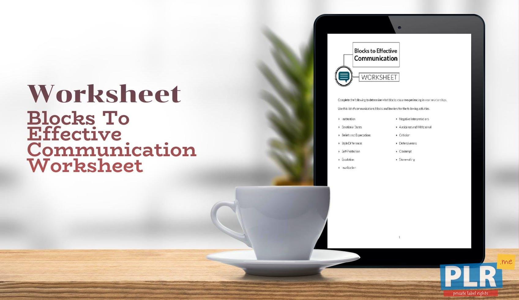Blocks To Effective Communication Worksheet