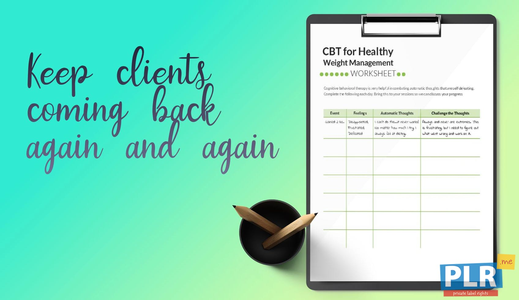 PLR Worksheets - Cbt For Healthy Weight Management Worksheet - PLR.me