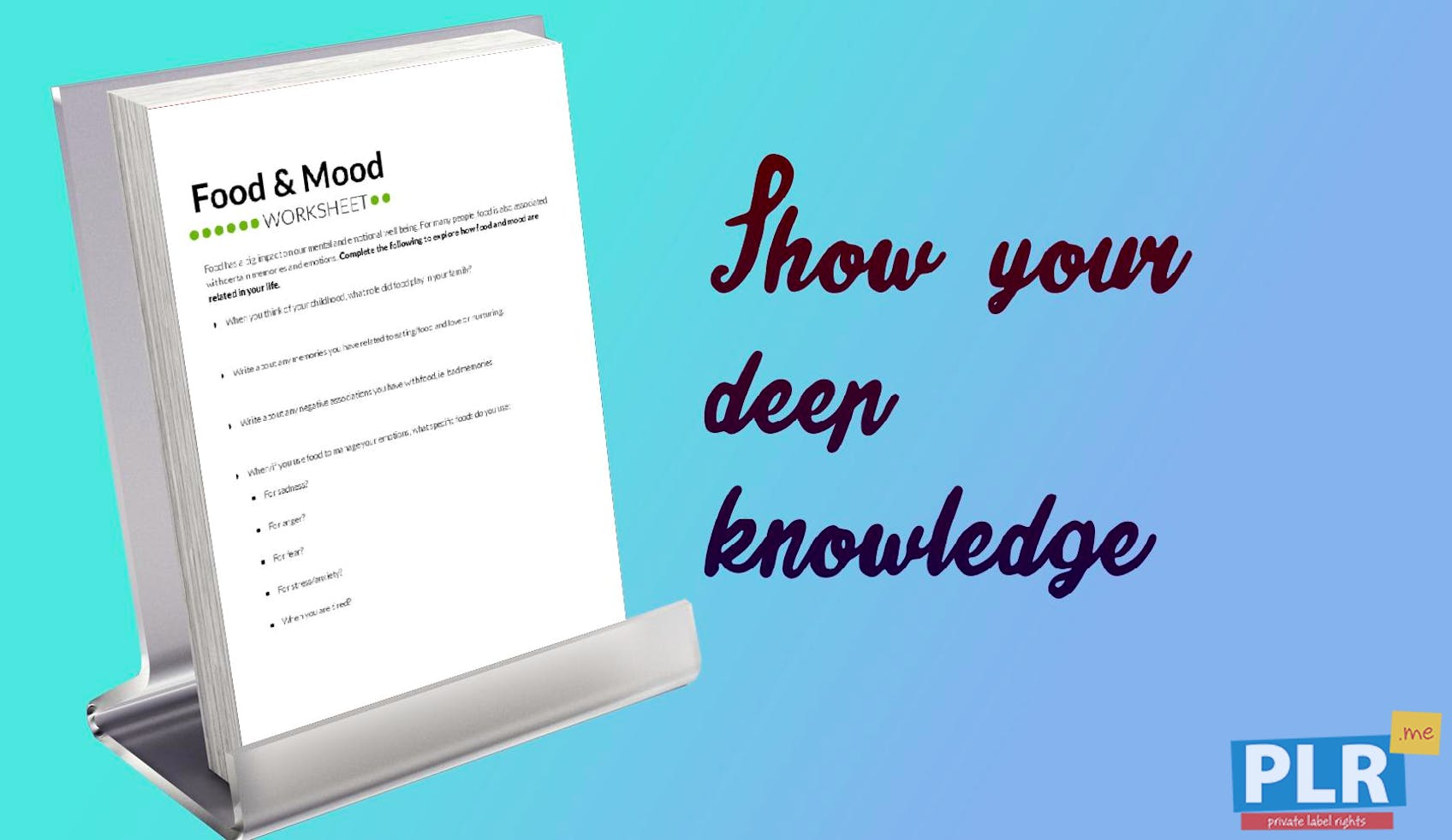 PLR Worksheets - Food And Mood Worksheet - PLR.me