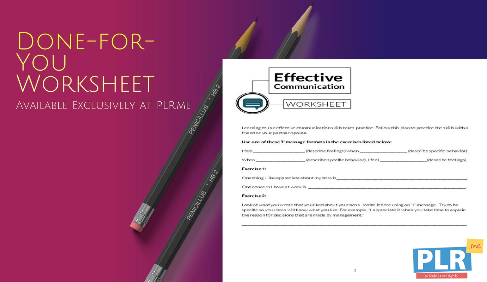 Plr Worksheets Effective Communication Worksheet Plr Me