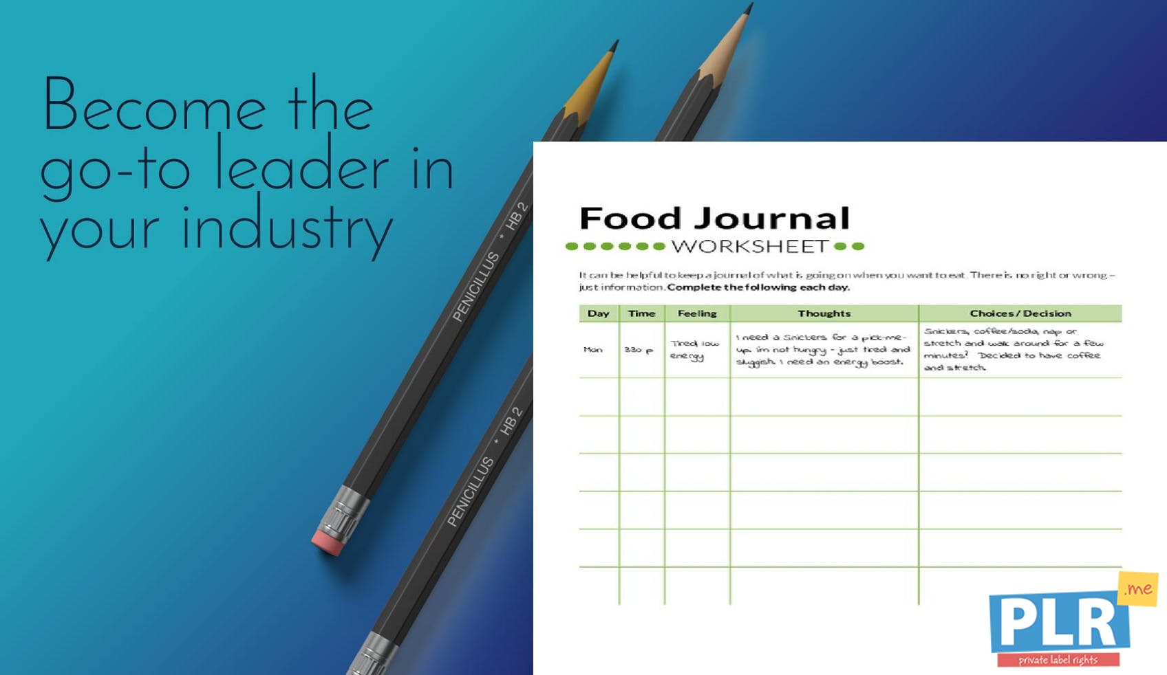 PLR Worksheets - Food Journal Worksheet - PLR.me