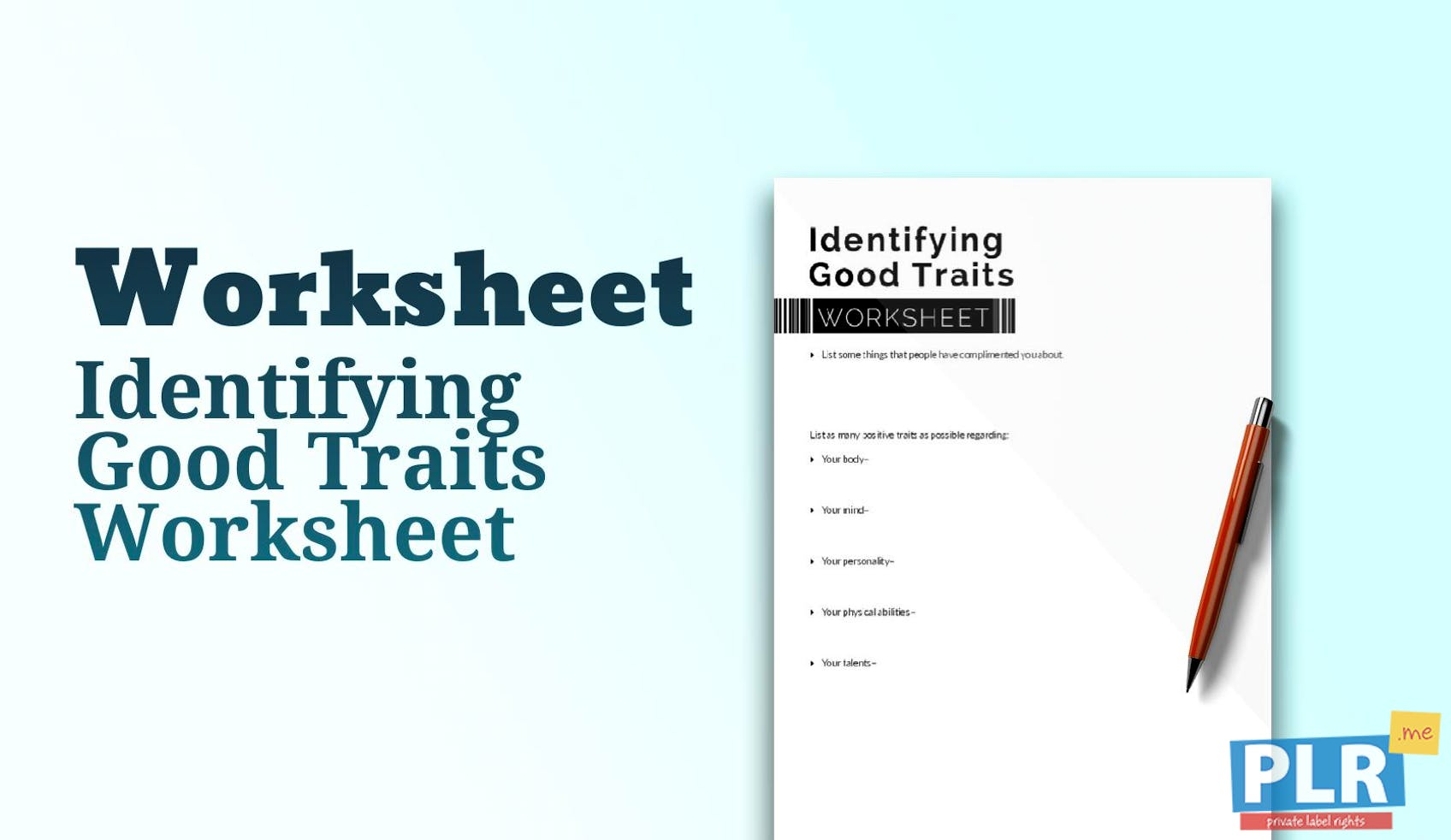 plr worksheets identifying good traits worksheet plrme