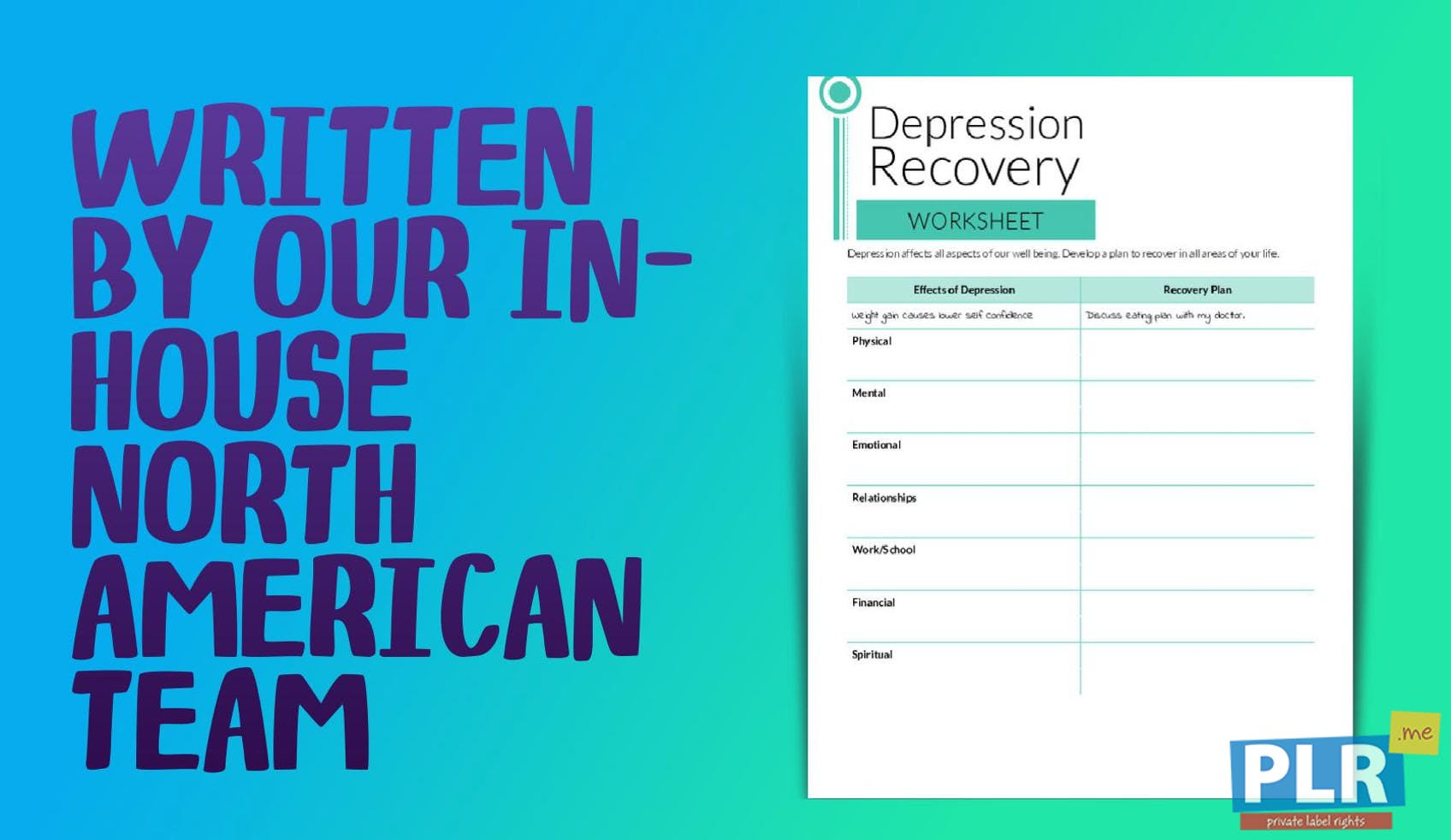 PLR Worksheets - Depression Recovery Worksheet - PLR.me