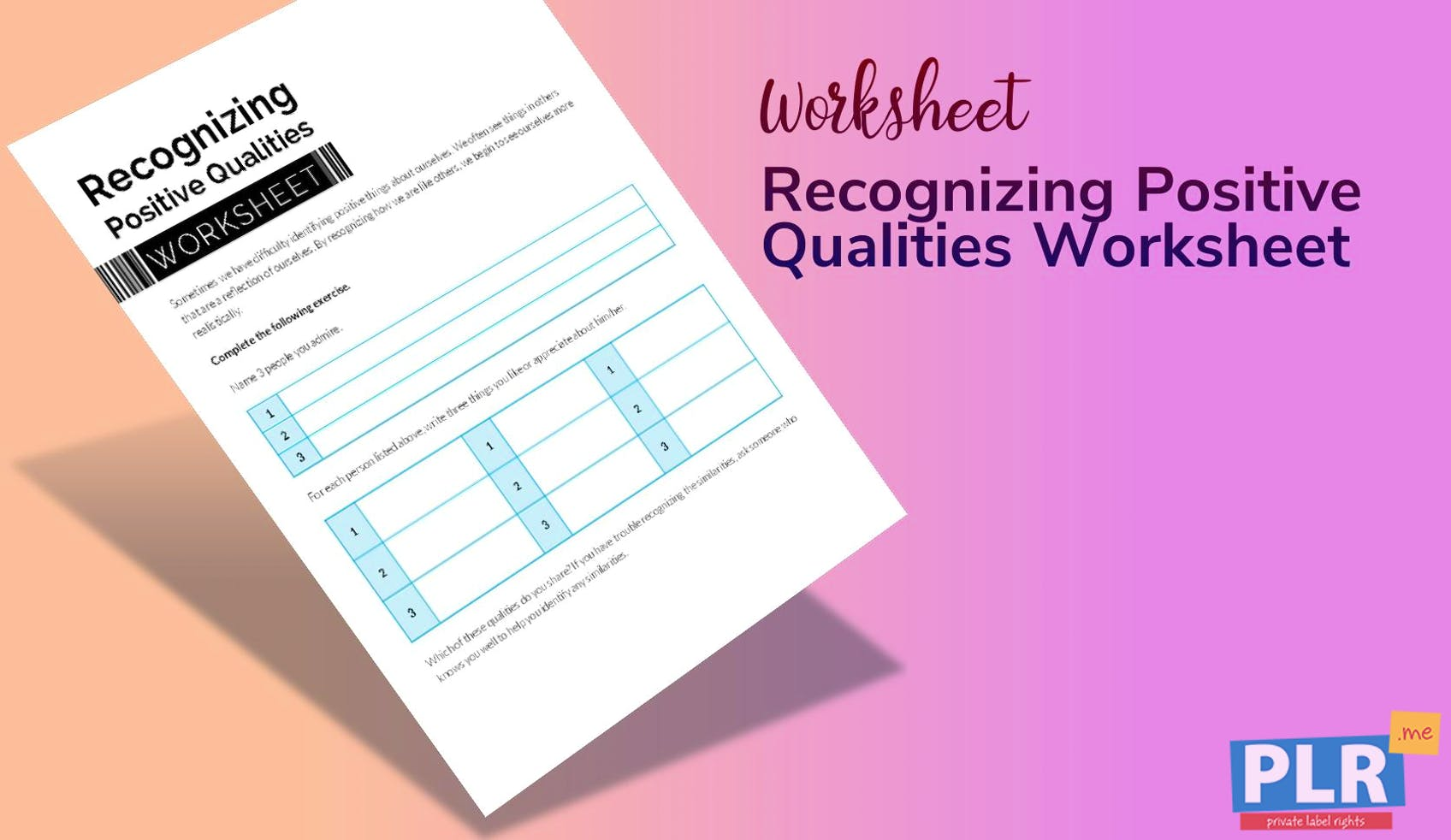 Recognizing Positive Qualities Worksheet