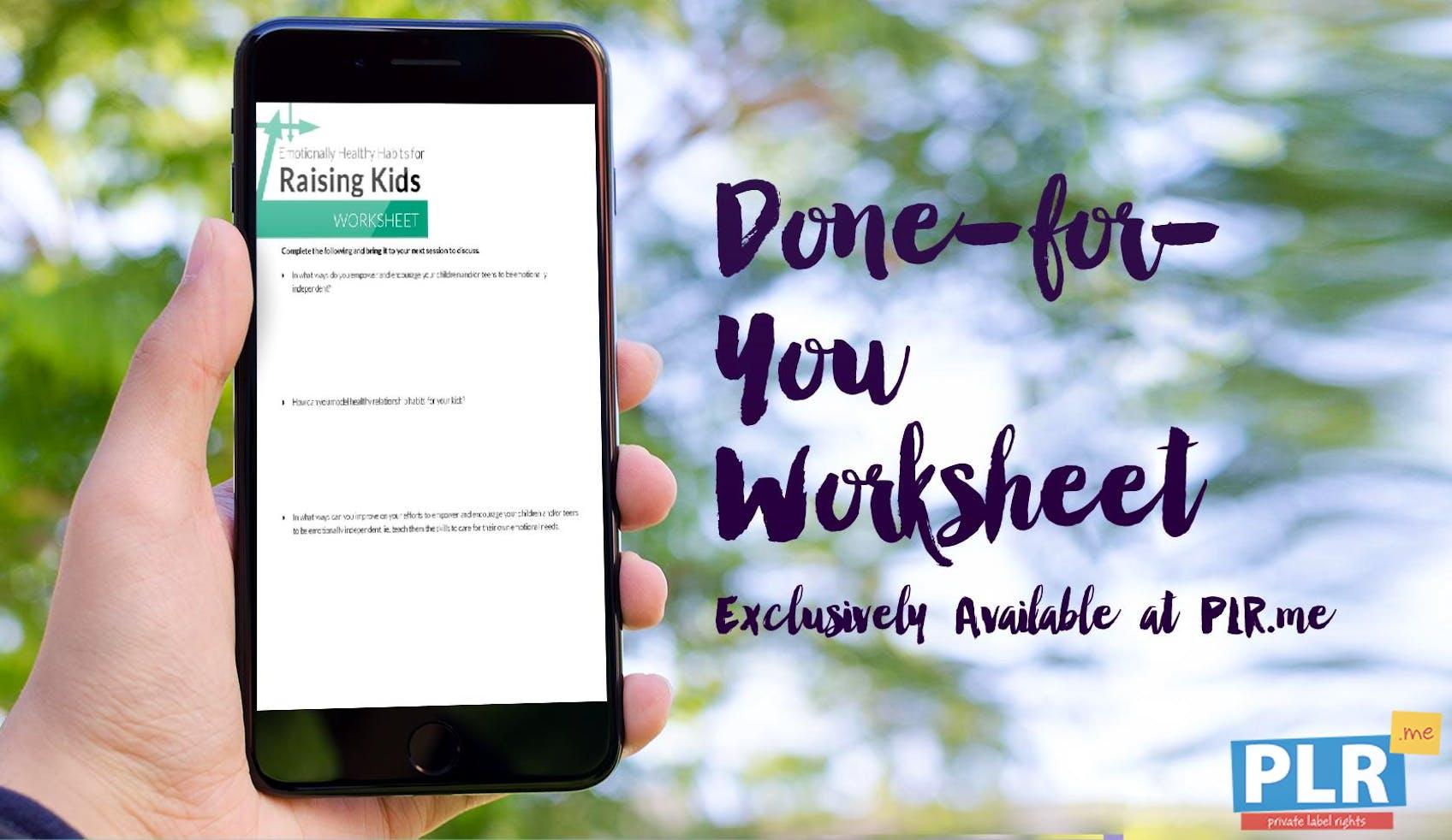 Emotionally Healthy Habits For Raising Kids Worksheet