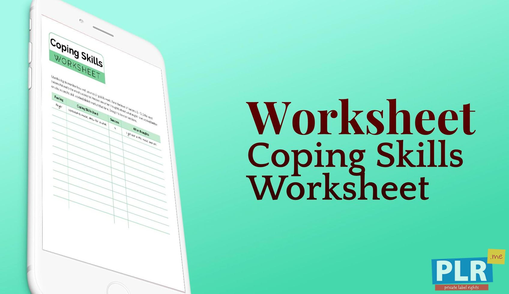 PLR Worksheets - Coping Skills Worksheet - PLR.me