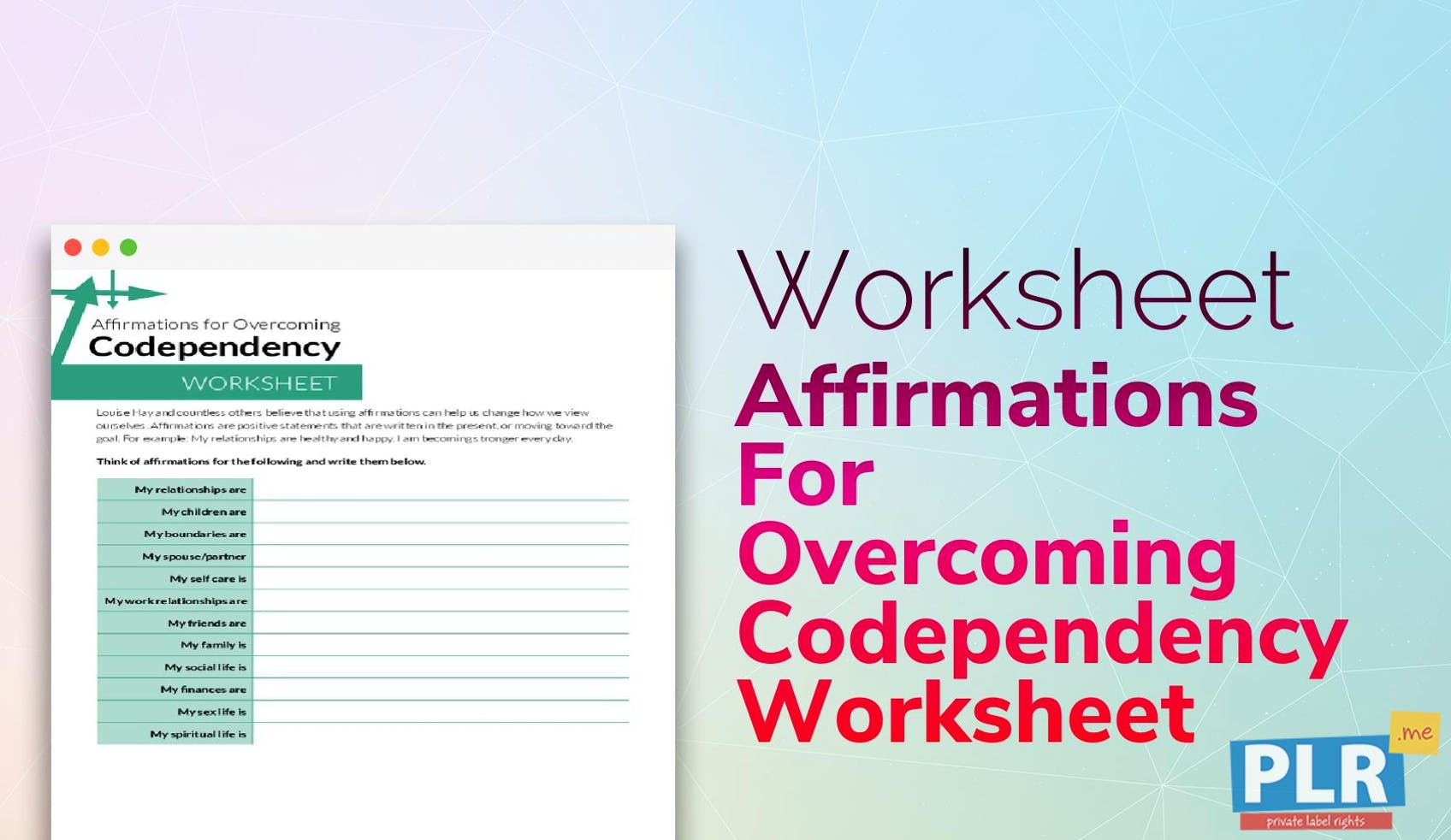 Affirmations For Overcoming Codependency Worksheet