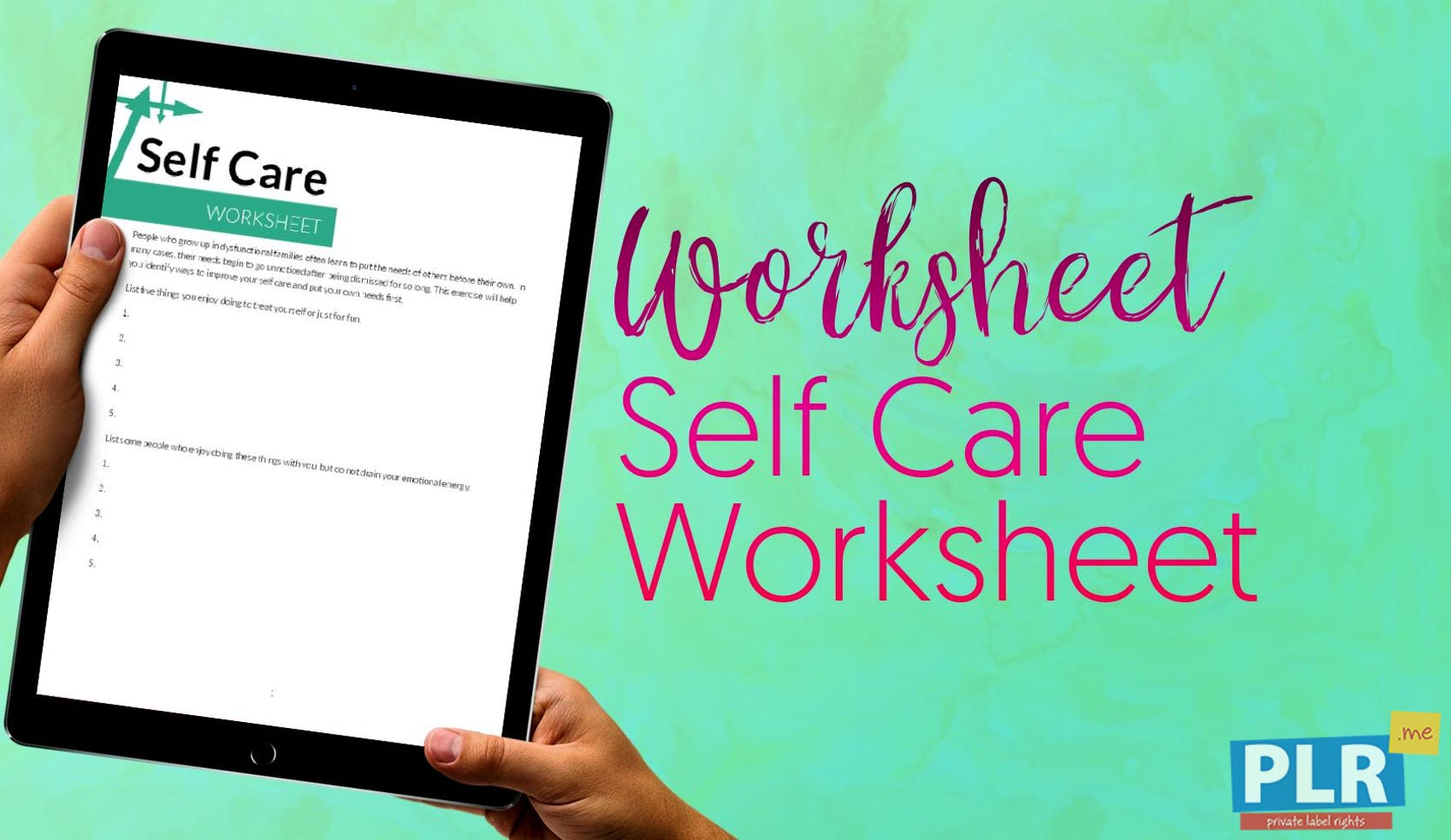 PLR Worksheets - Self Care Worksheet - PLR.me
