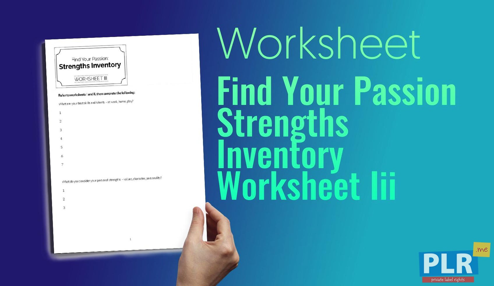 plr worksheets find your passion strengths inventory worksheet iii