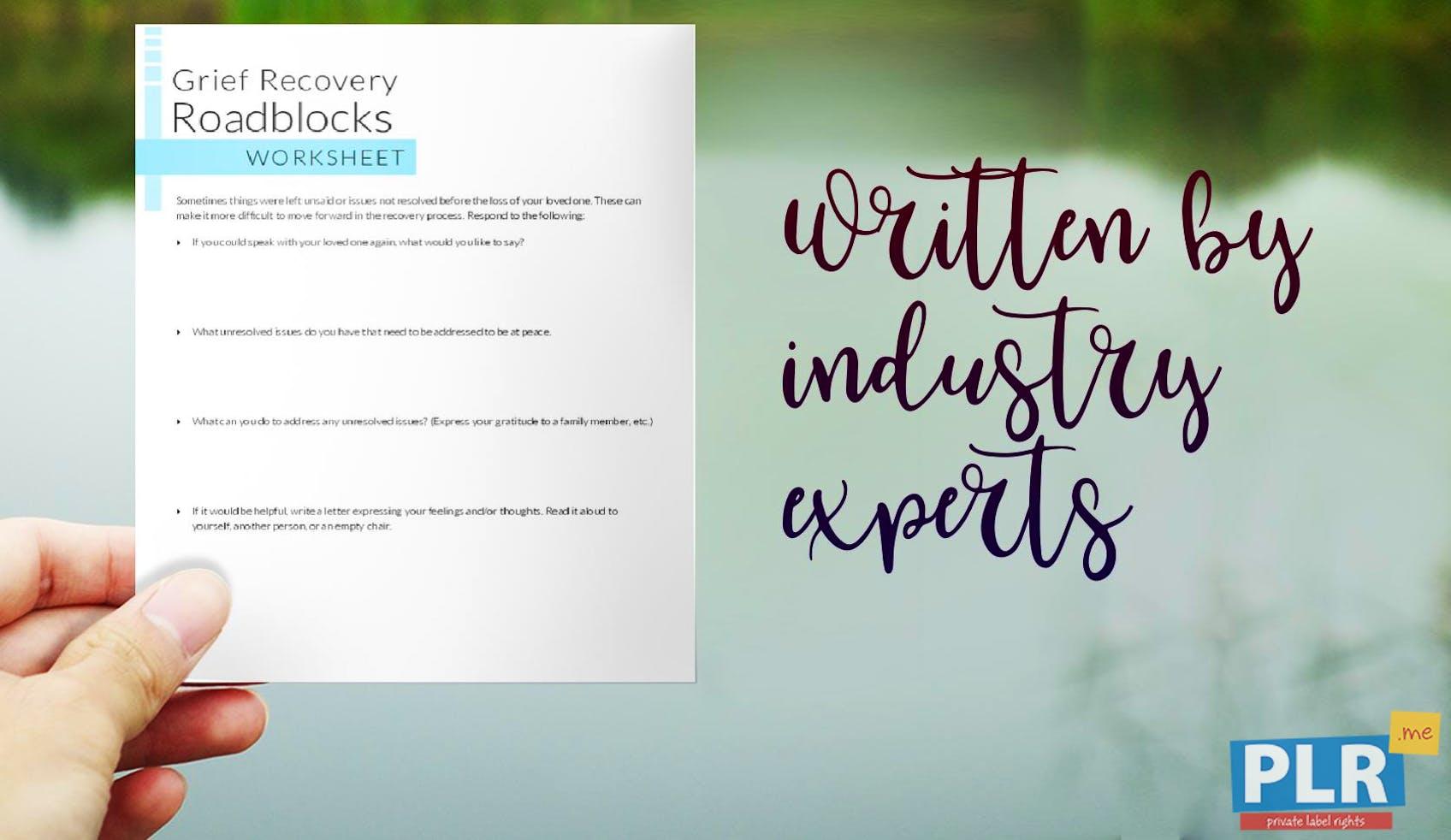 PLR Worksheets - Grief Recovery Roadblocks Worksheet - PLR.me