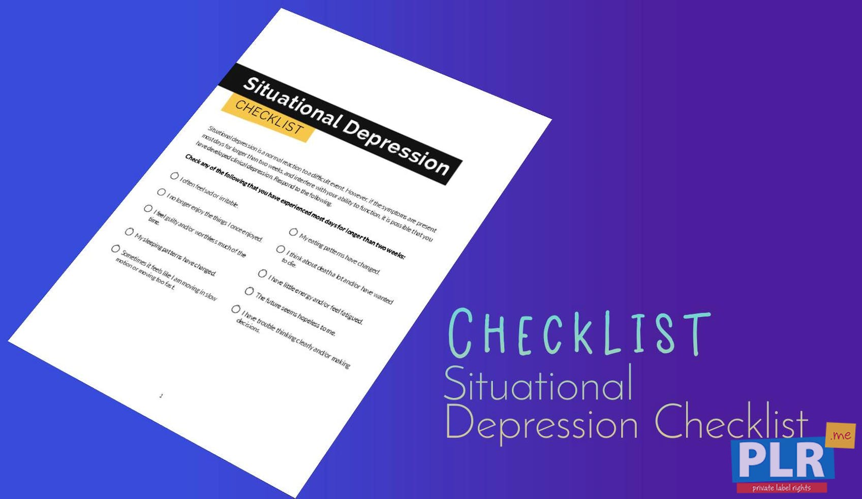 Situational Depression Checklist