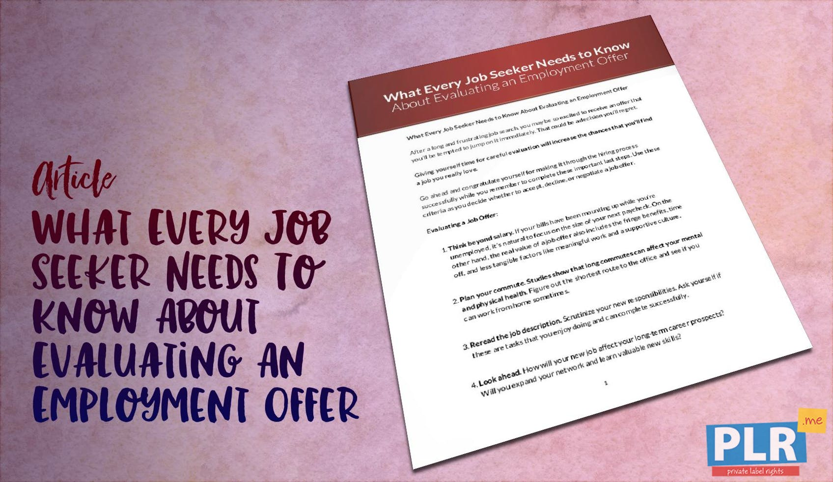 What Every Job Seeker Needs To Know About Evaluating An Employment Offer