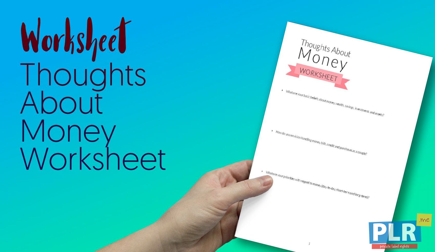 Thoughts About Money Worksheet