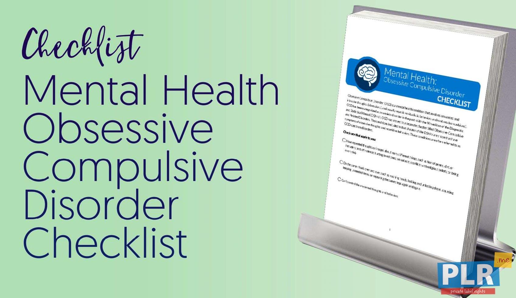 Mental Health Obsessive Compulsive Disorder Checklist