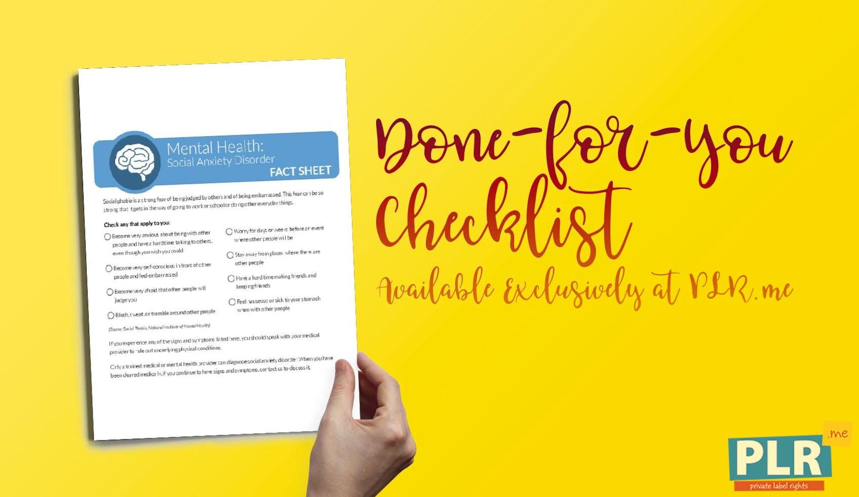 Mental Health Social Anxiety Disorder Checklist