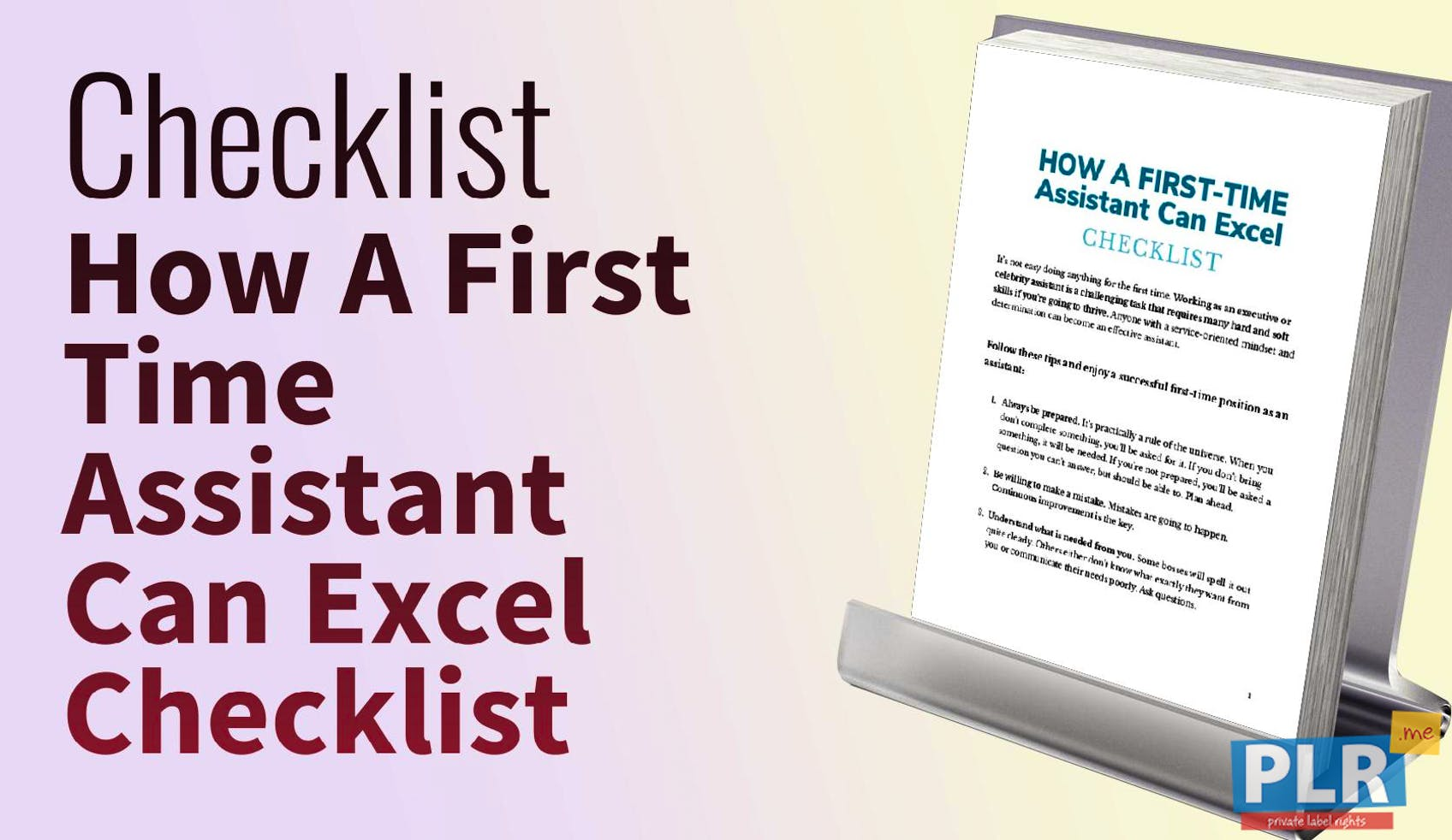 How A First Time Assistant Can Excel Checklist