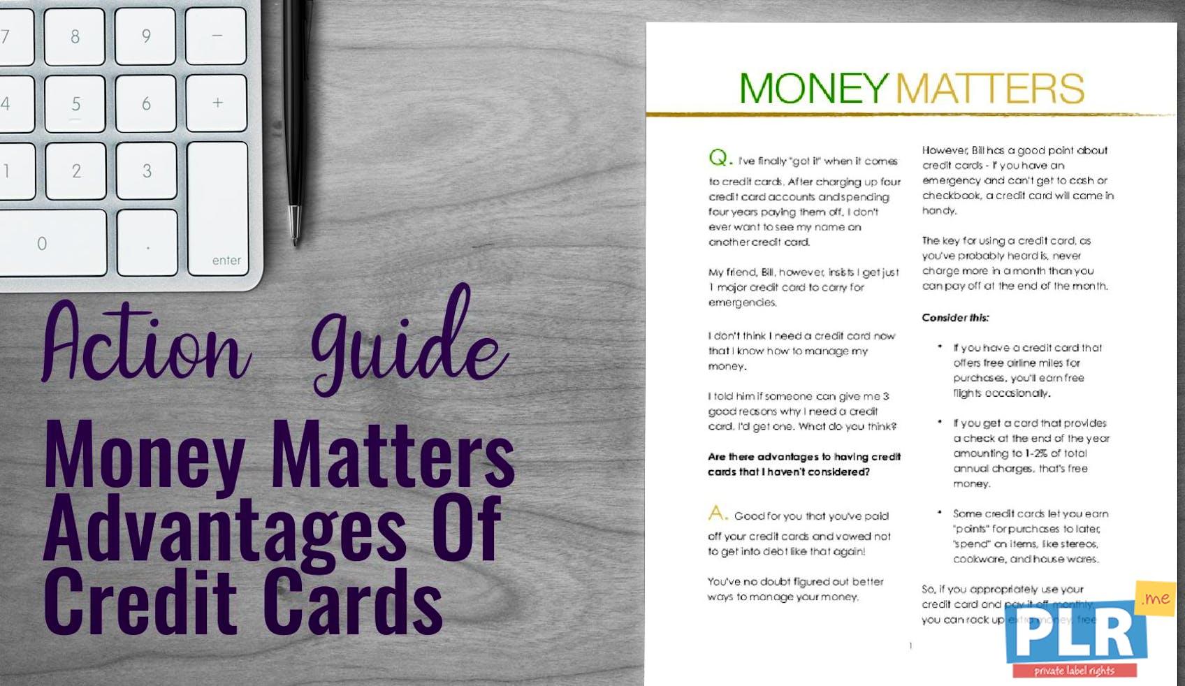 Advantages Of Credit Card >> Money Matters Advantages Of Credit Cards