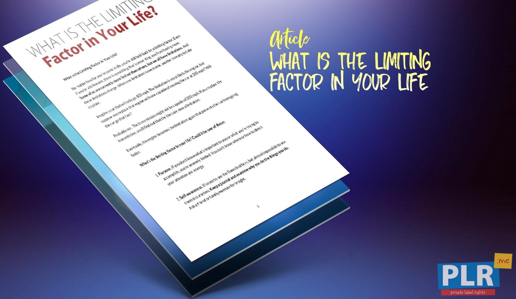 What Is The Limiting Factor In Your Life
