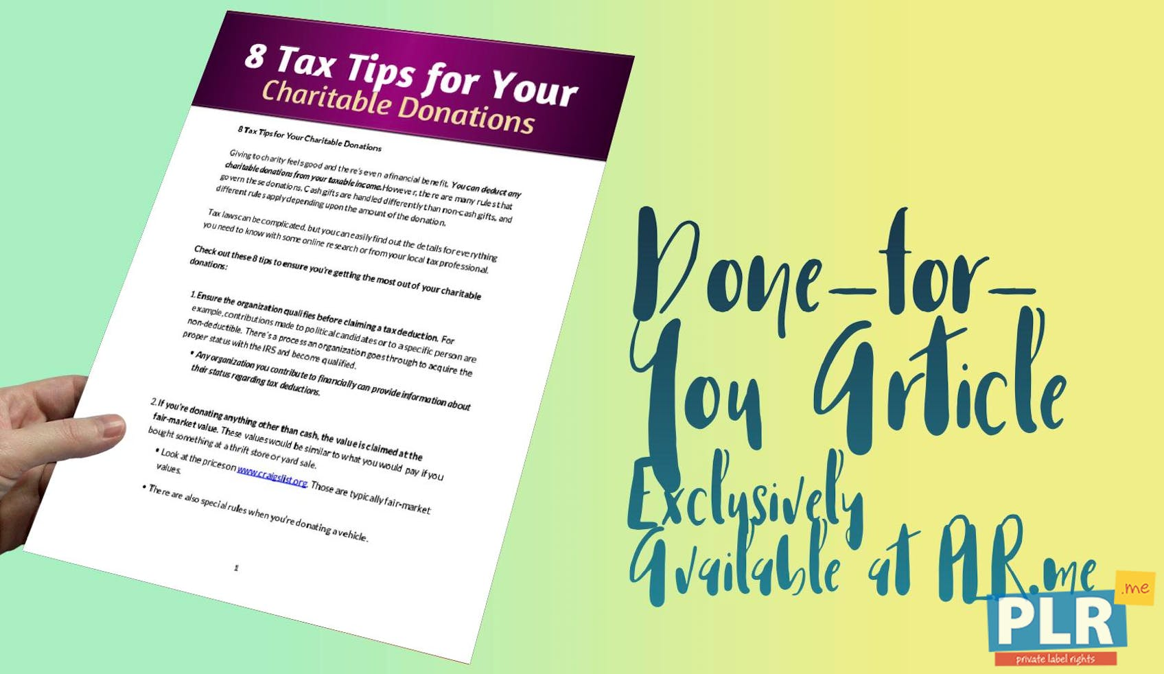 8 Tax Tips For Your Charitable Donations