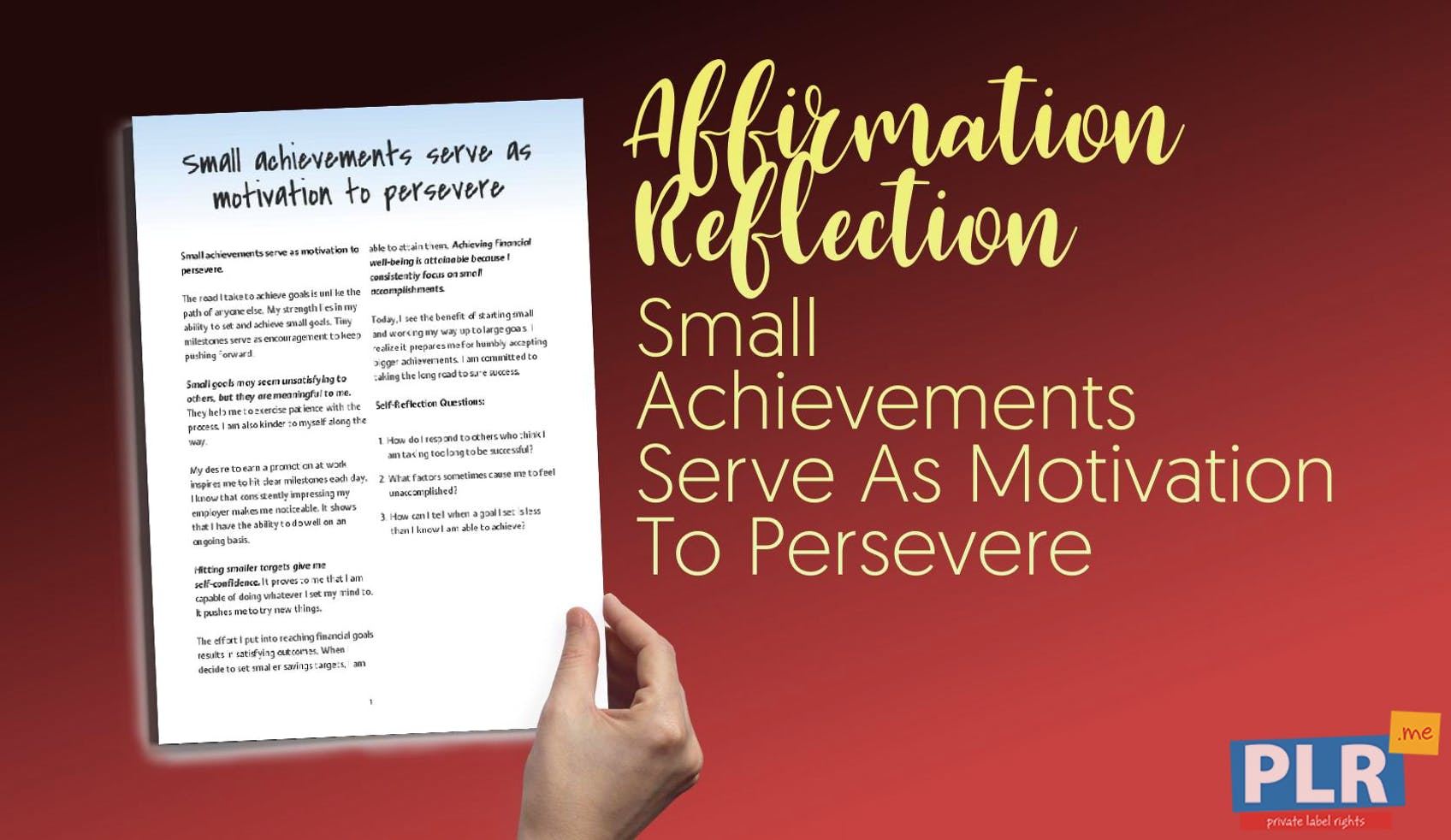 Small Achievements Serve As Motivation To Persevere