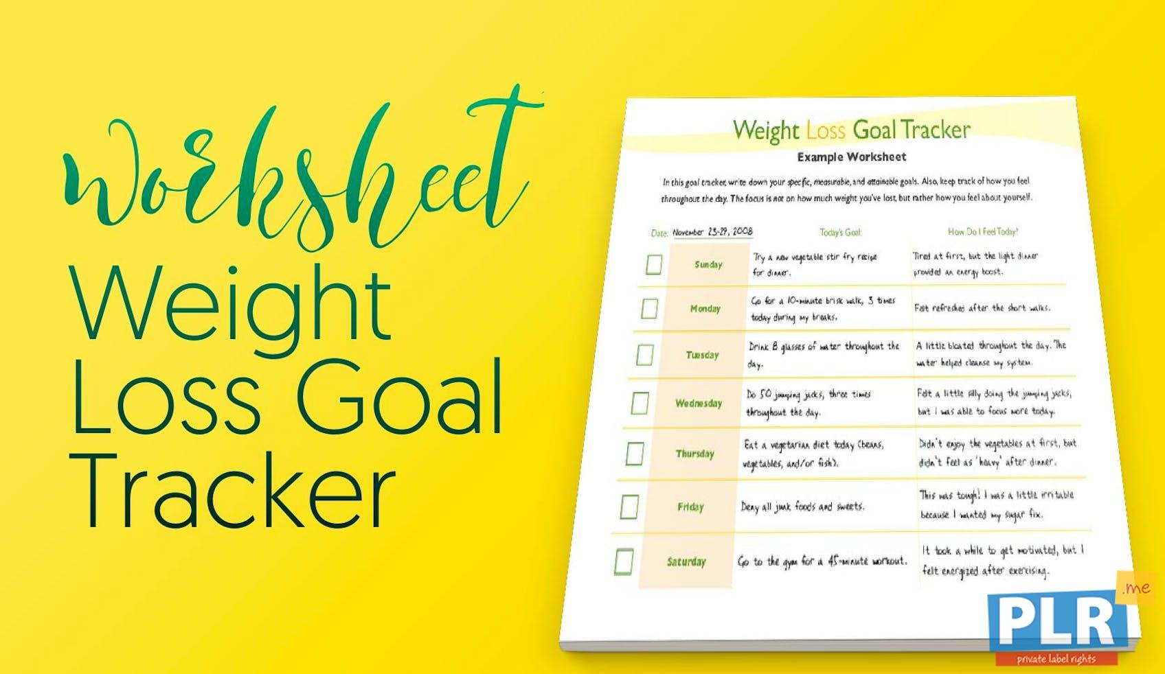 plr worksheets weight loss goal tracker plr me