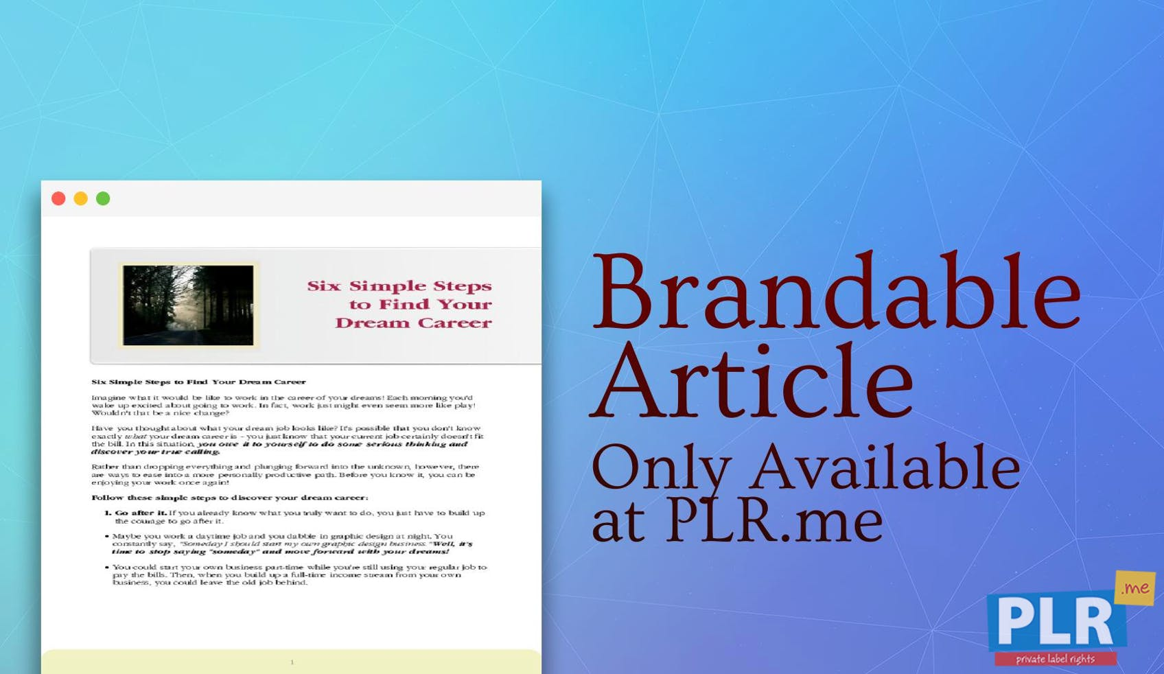 Plr Articles Blog Posts Six Simple Steps To Find Your Dream