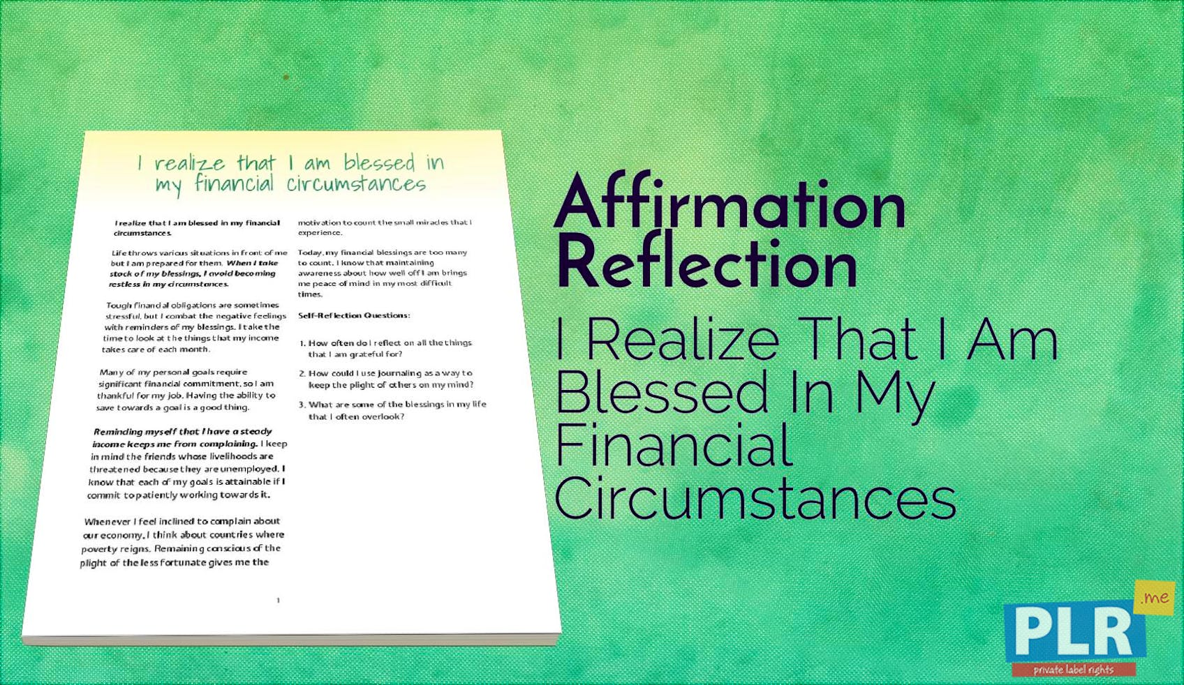 I Realize That I Am Blessed In My Financial Circumstances
