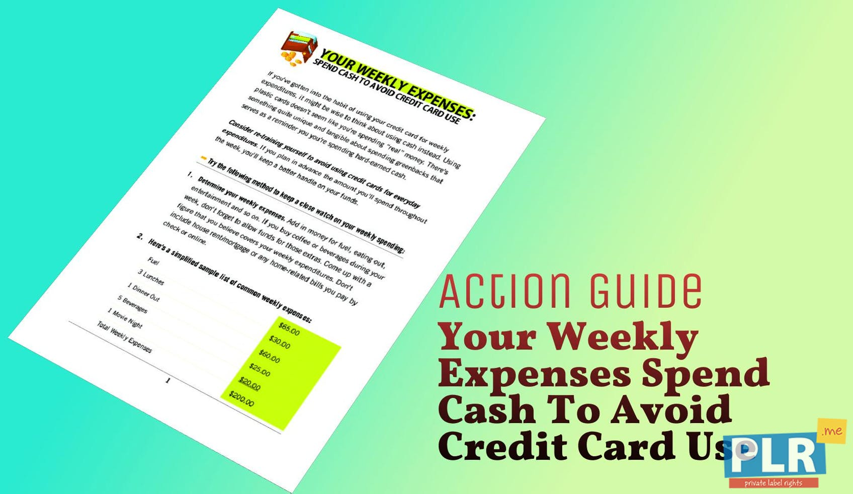 Your Weekly Expenses Spend Cash To Avoid Credit Card Use