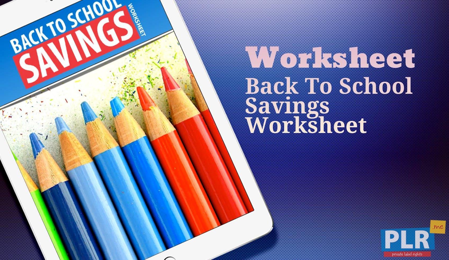 Back To School Savings Worksheet