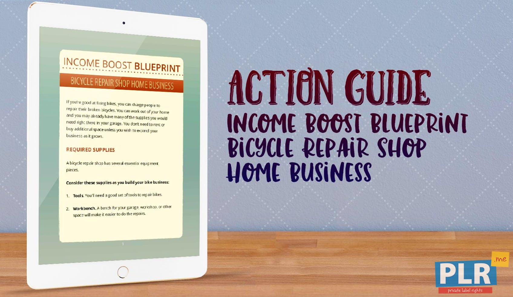 Income Boost Blueprint Bicycle Repair Shop Home Business