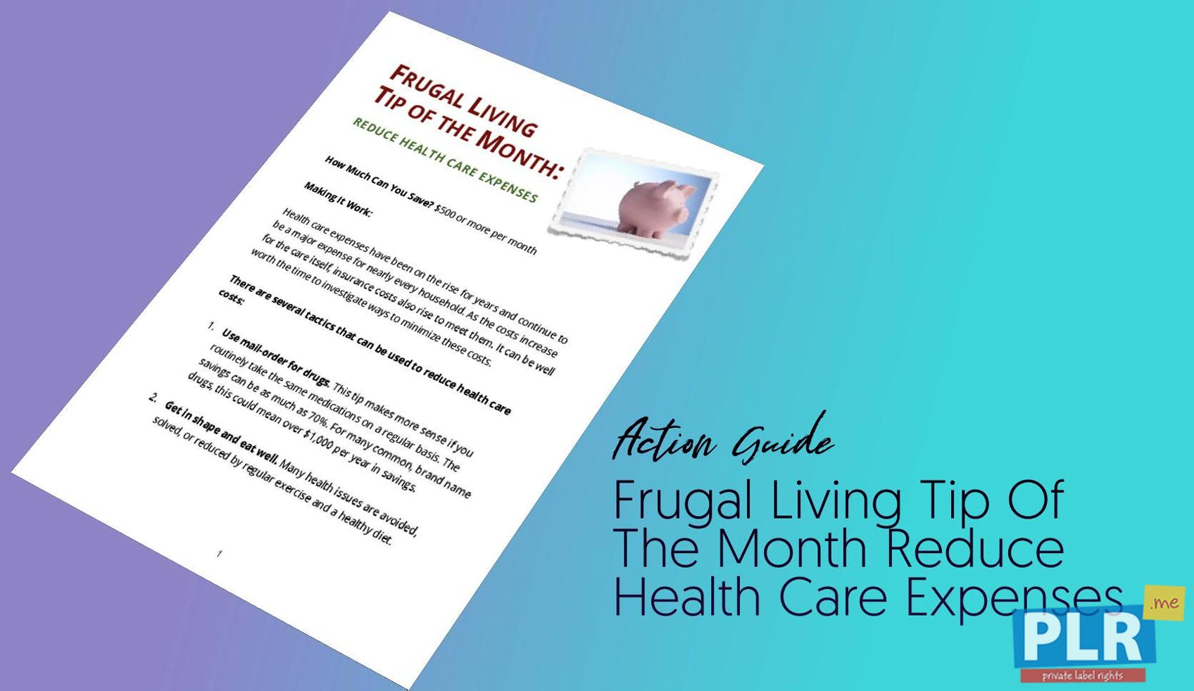Frugal Living Tip Of The Month Reduce Health Care Expenses