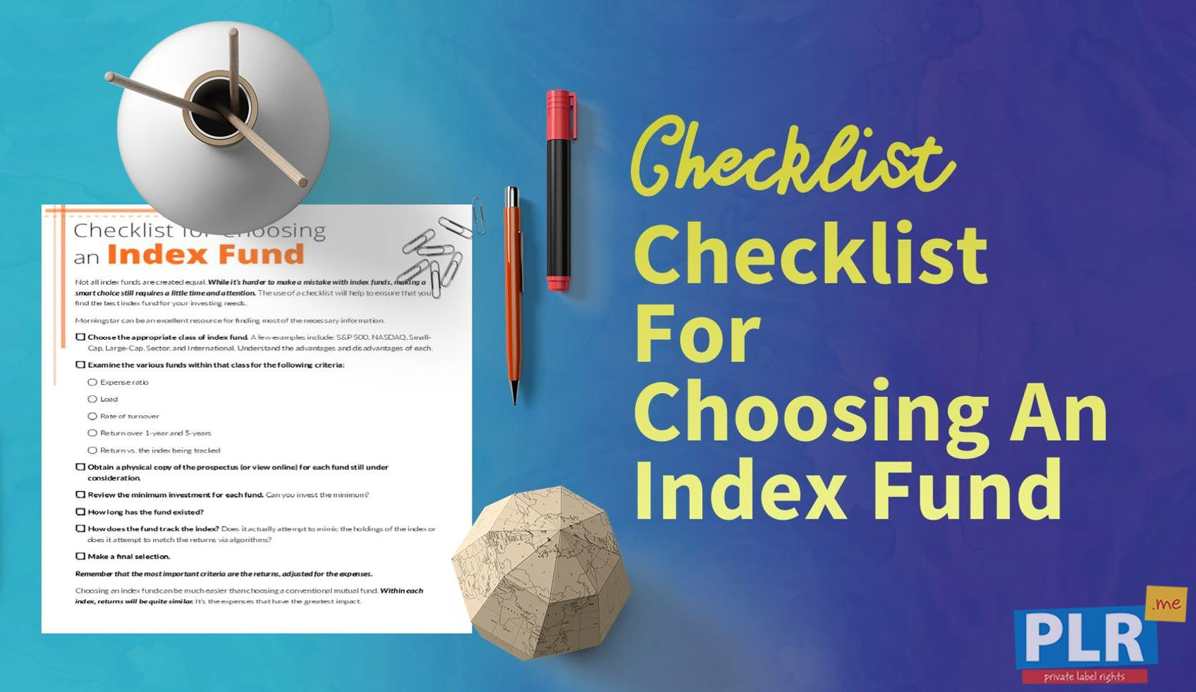Checklist For Choosing An Index Fund
