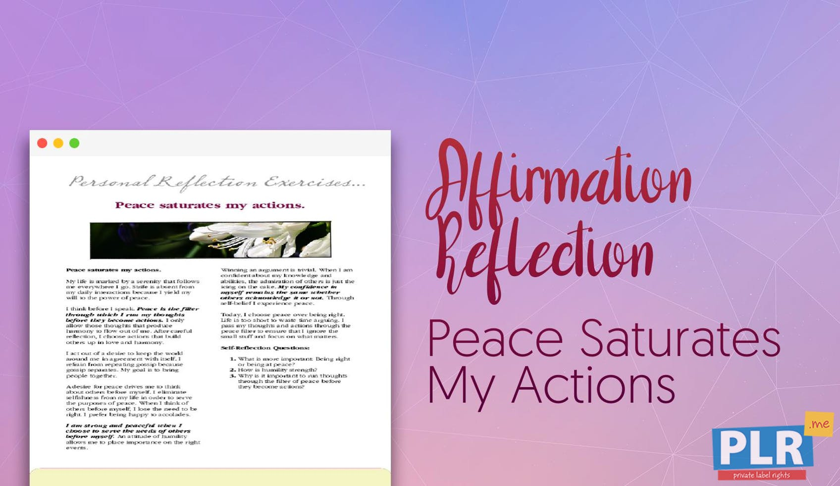 Peace Saturates My Actions